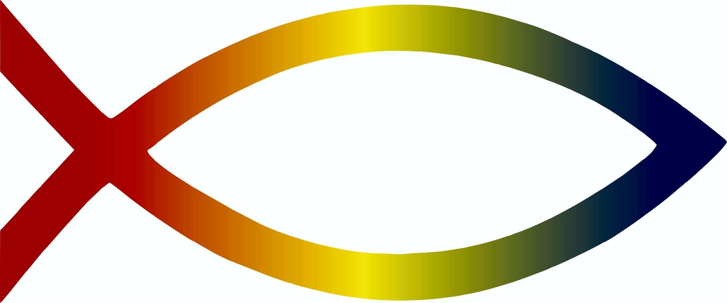 Aufkleber Christusfisch bunt Dimension 120 x 50 mm 001