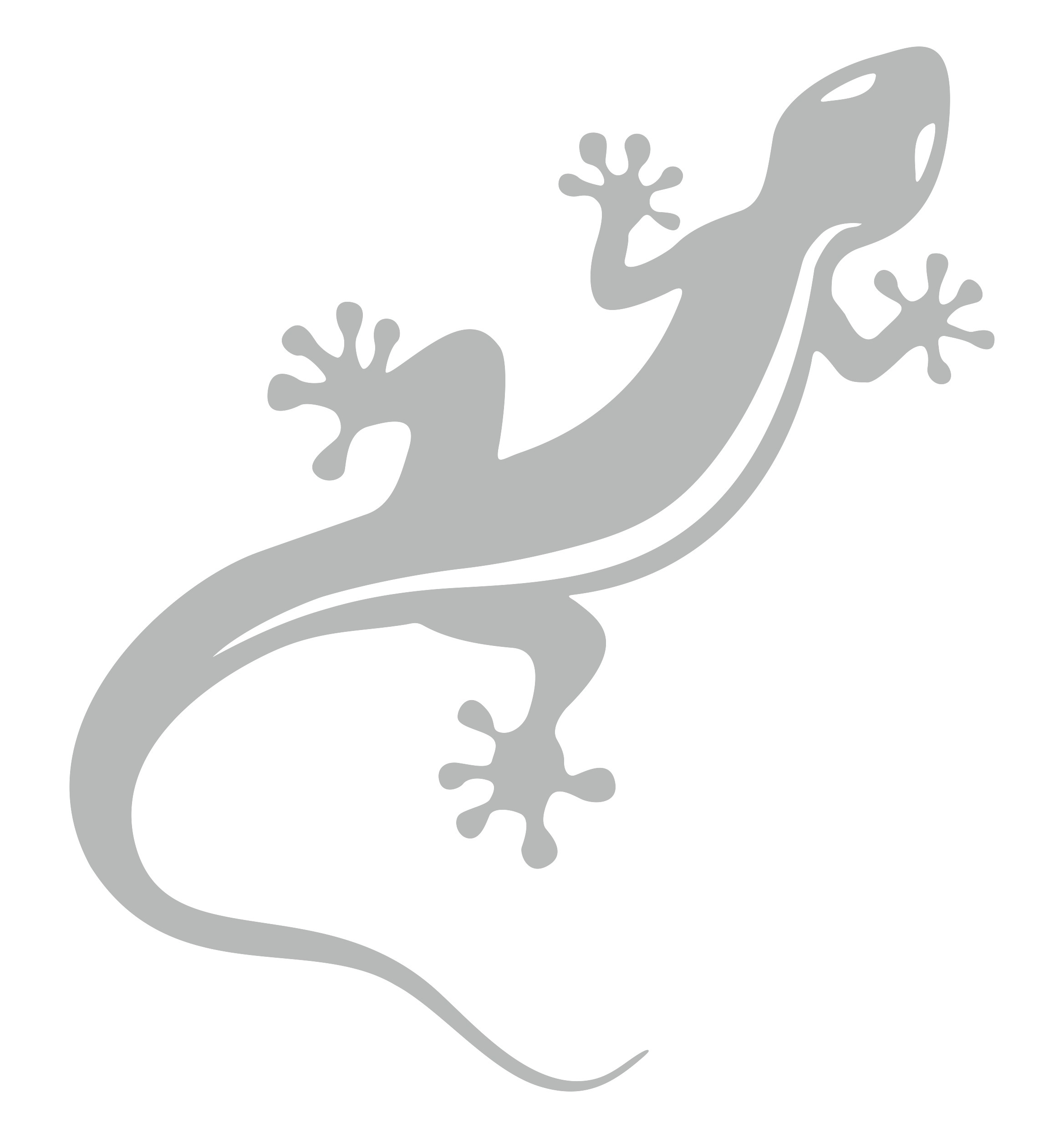 Aufkleber Gecko silber – Bild 1