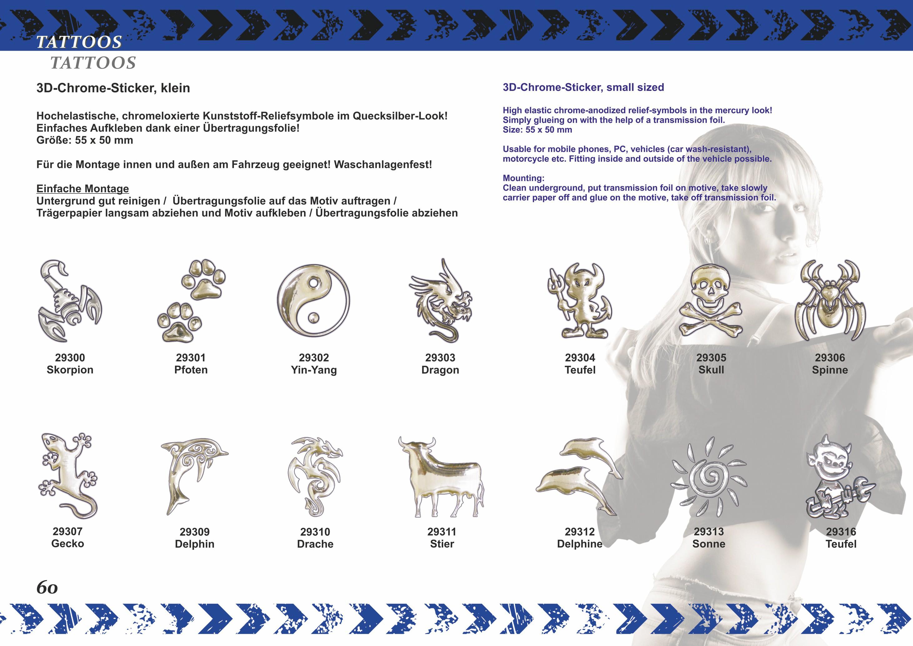 Autocollant chrome 3D dragon 50 x 35 mm – Bild 4