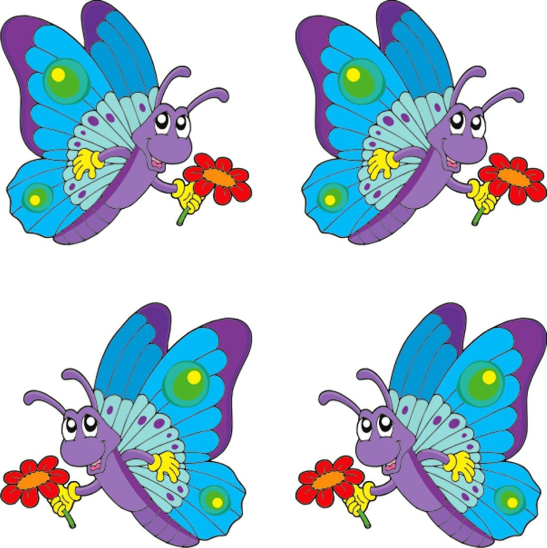 Sticker butterfly dimension 4 pieces each 35 x 35 mm