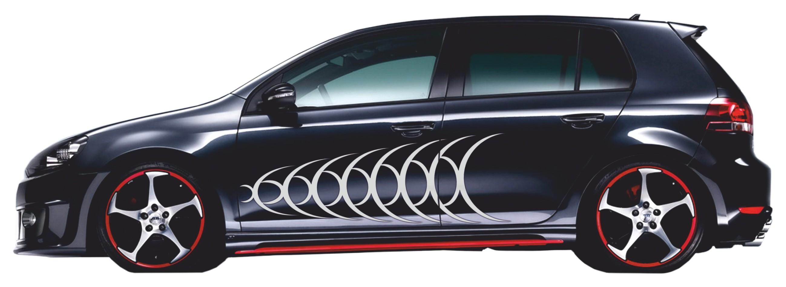 Car-Tattoo Schallwellen 1360 x 425 mm silber – Bild 2