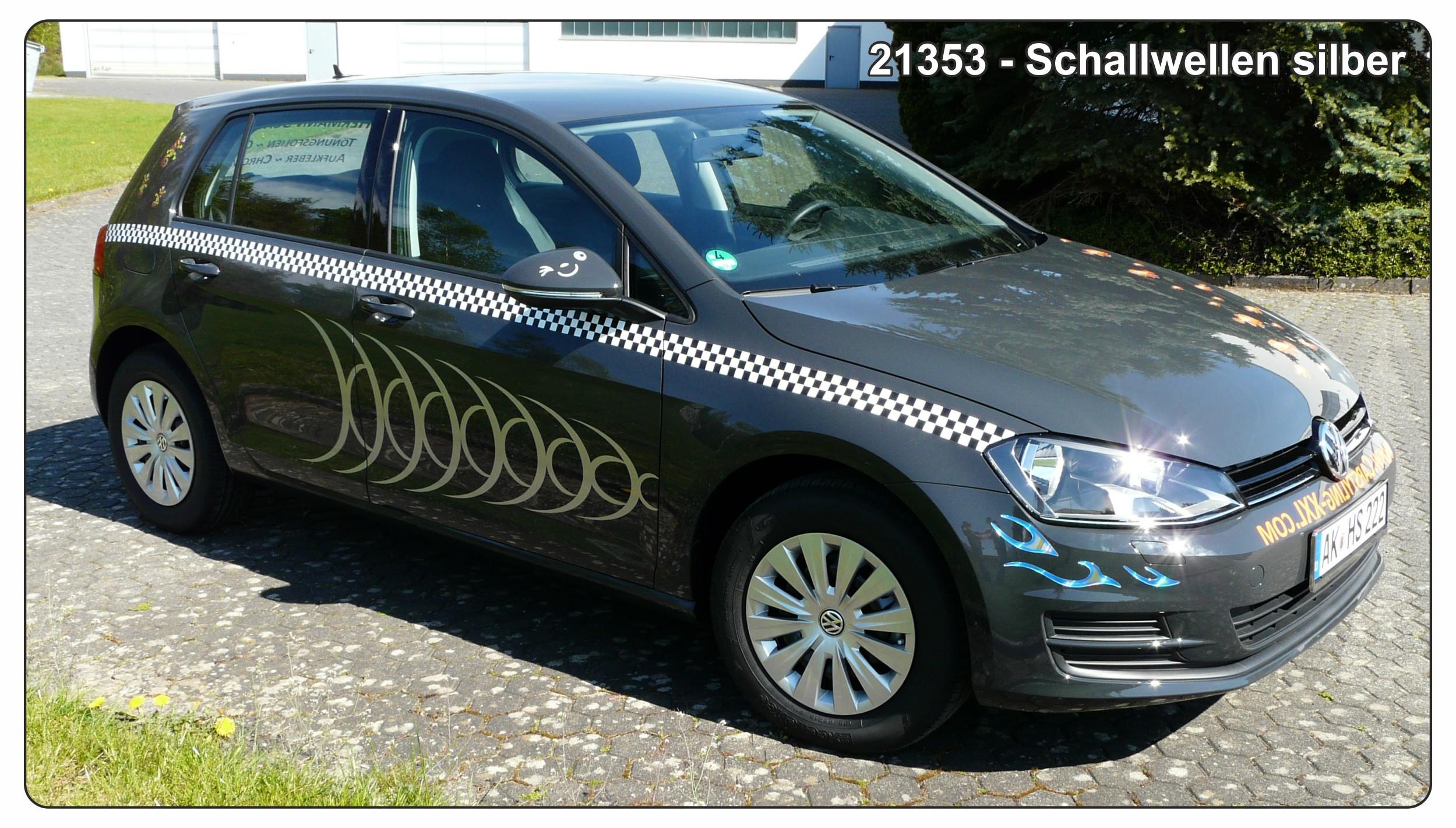 Car-Tattoo Schallwellen 1360 x 425 mm silber – Bild 4