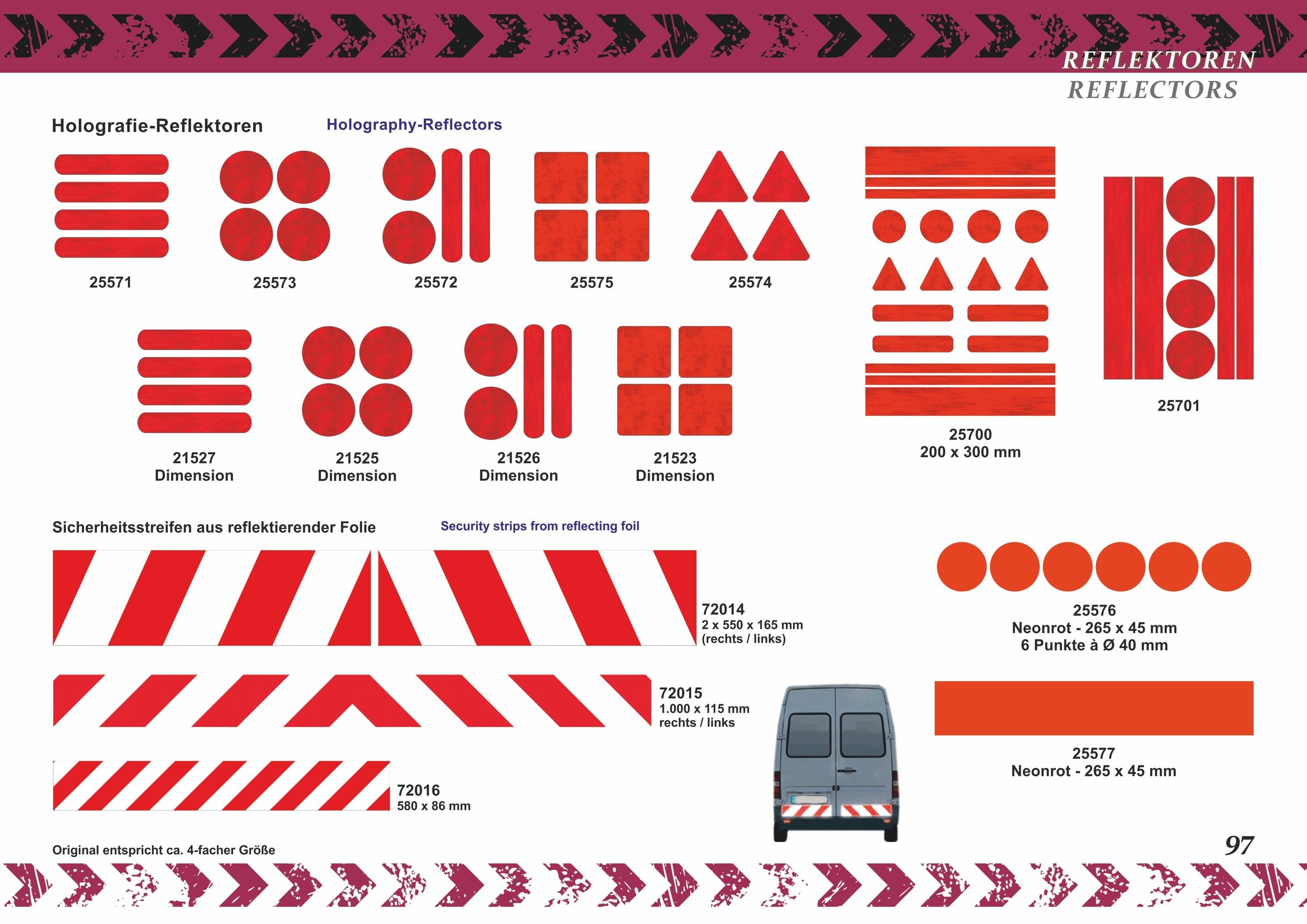 Sticker reflective stripe 80 x 15 mm red – Bild 5