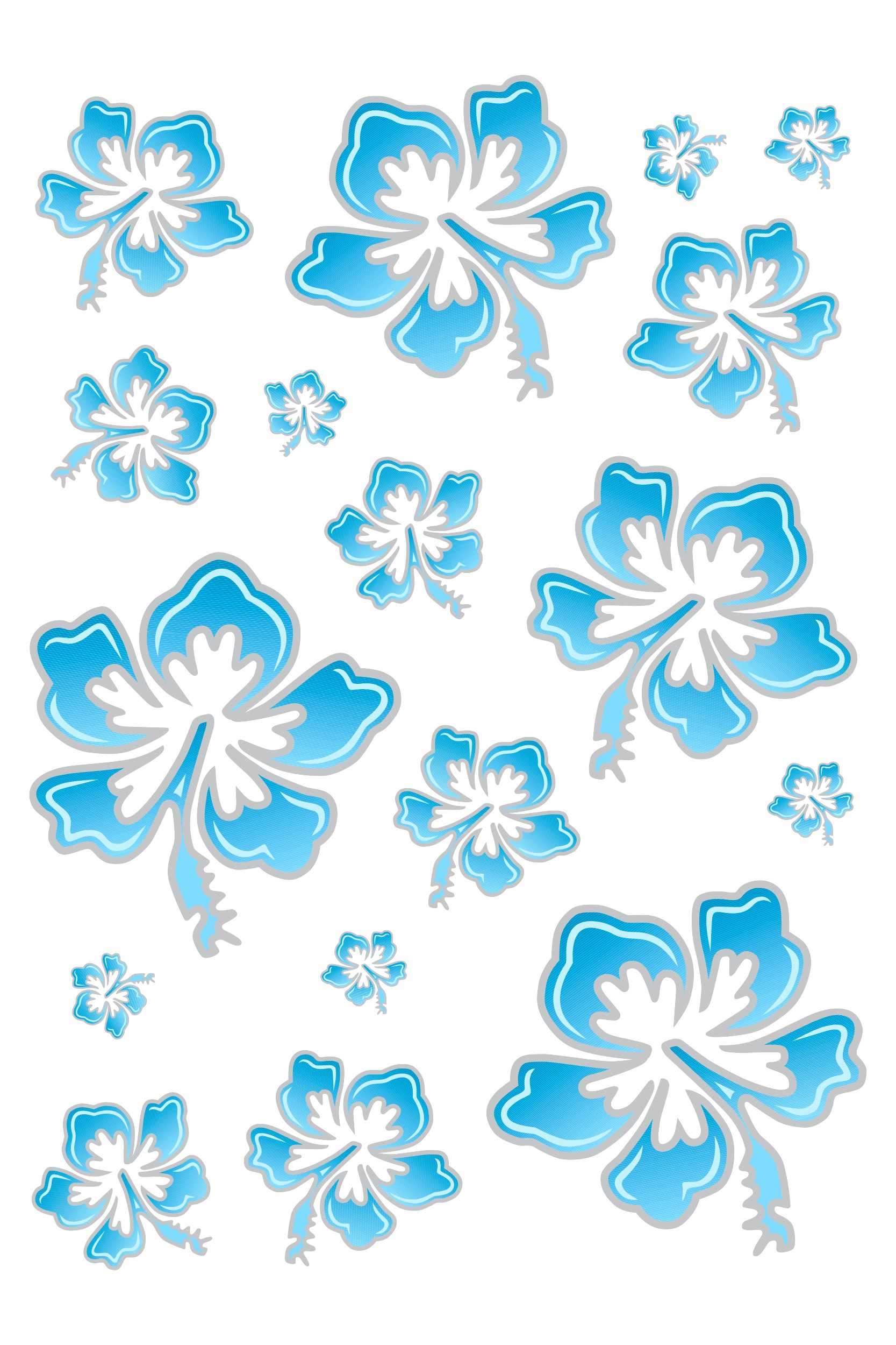 Sticker Hibiscus Flower Set 300 x 200 mm blue/silver – Bild 1