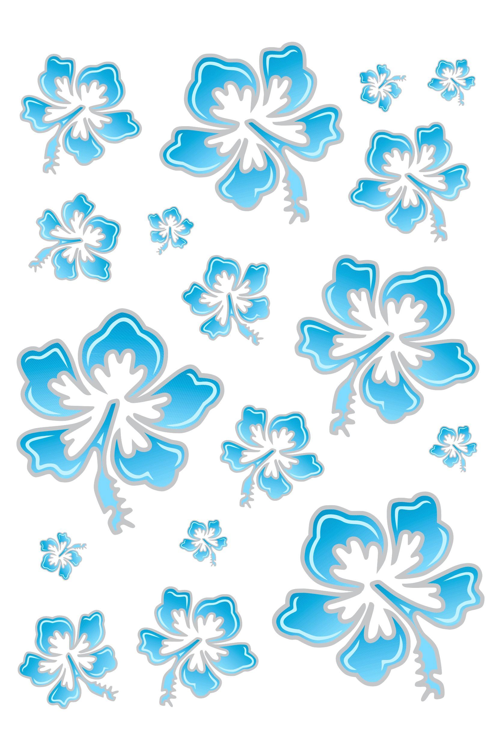 Sticker Hibiscus Flower Set 300 x 200 mm blue/silver