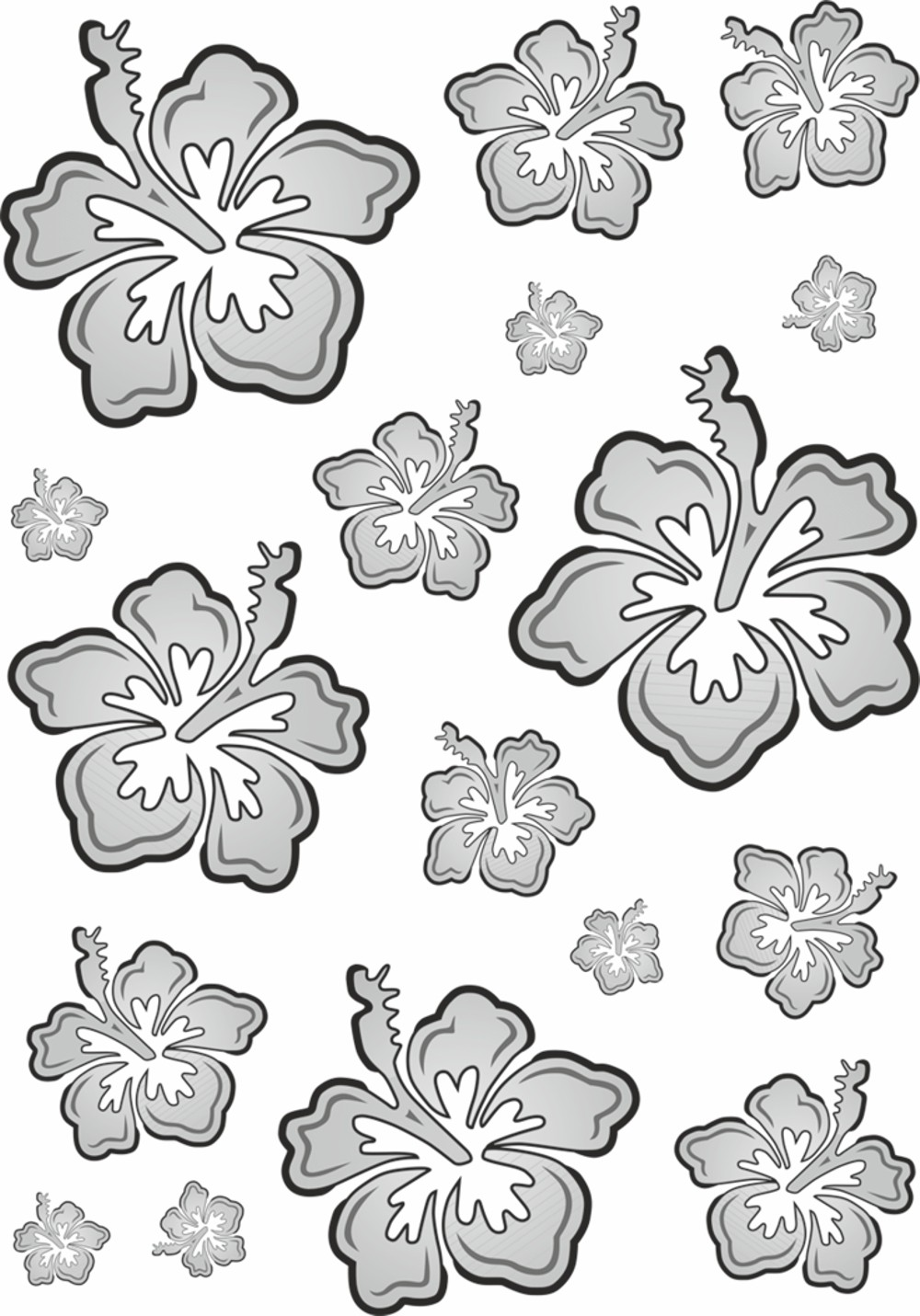 Sticker Hibiscus Flower Set 300 x 200 mm black/silver – Bild 1