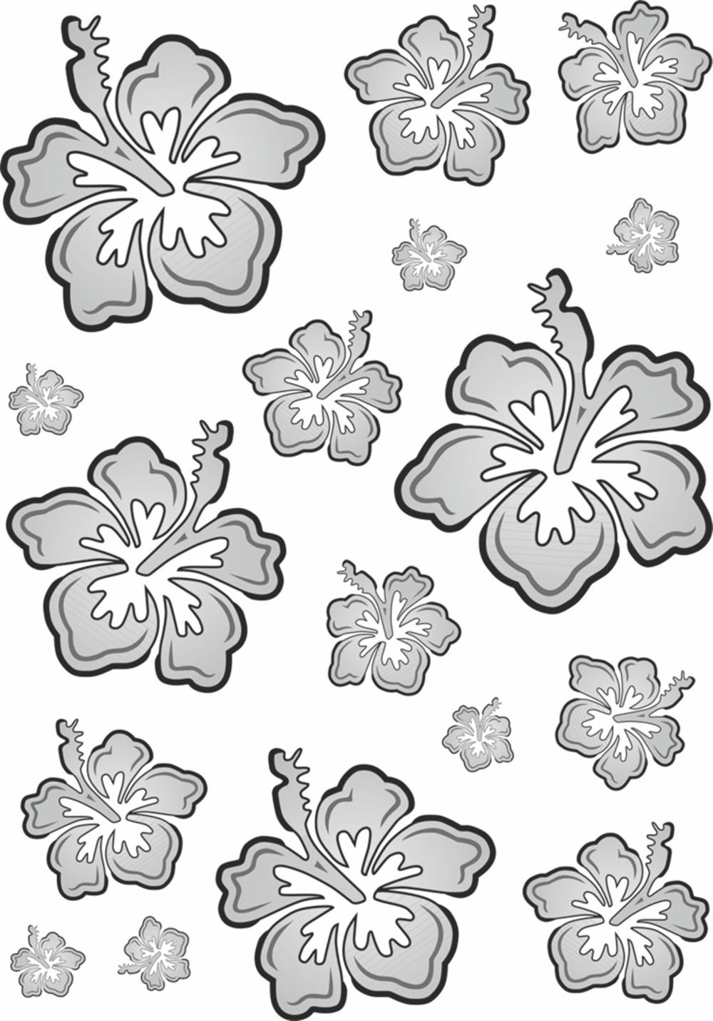 Autocollant Set de fleuraison du hibiscus 300 x 200 mm noir/argent
