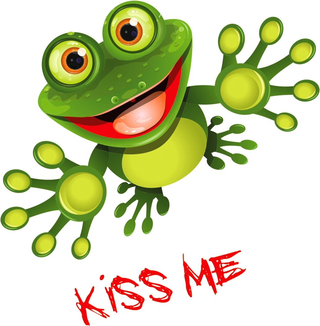 Sticker frog Kiss me 145 x 115 mm