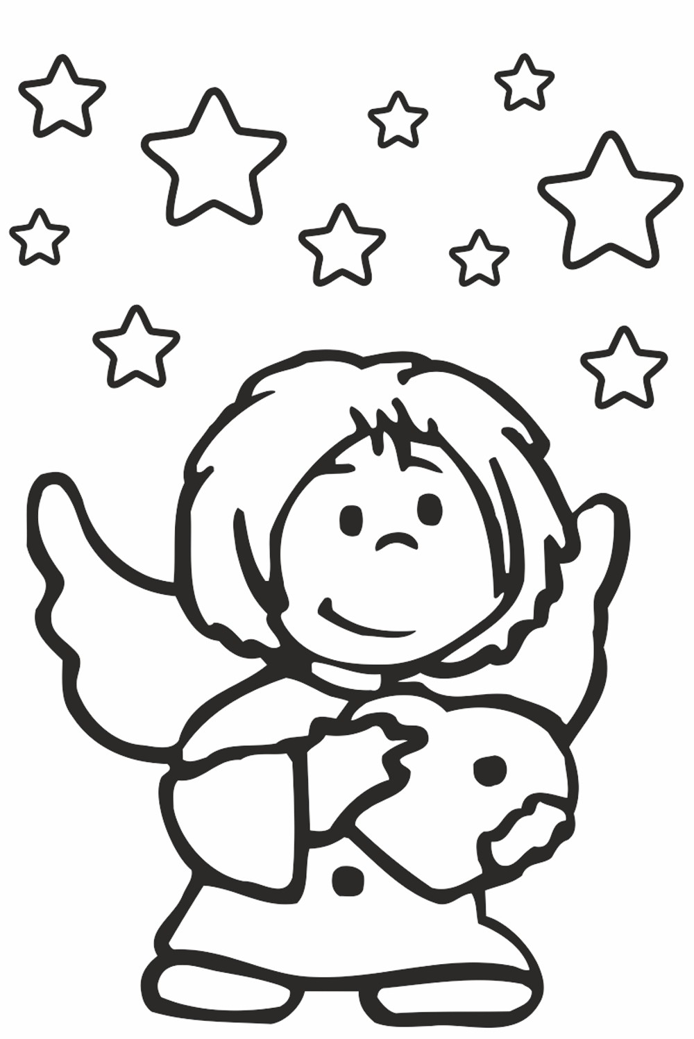 Sticker guardian angel and stars  300 x 200 mm