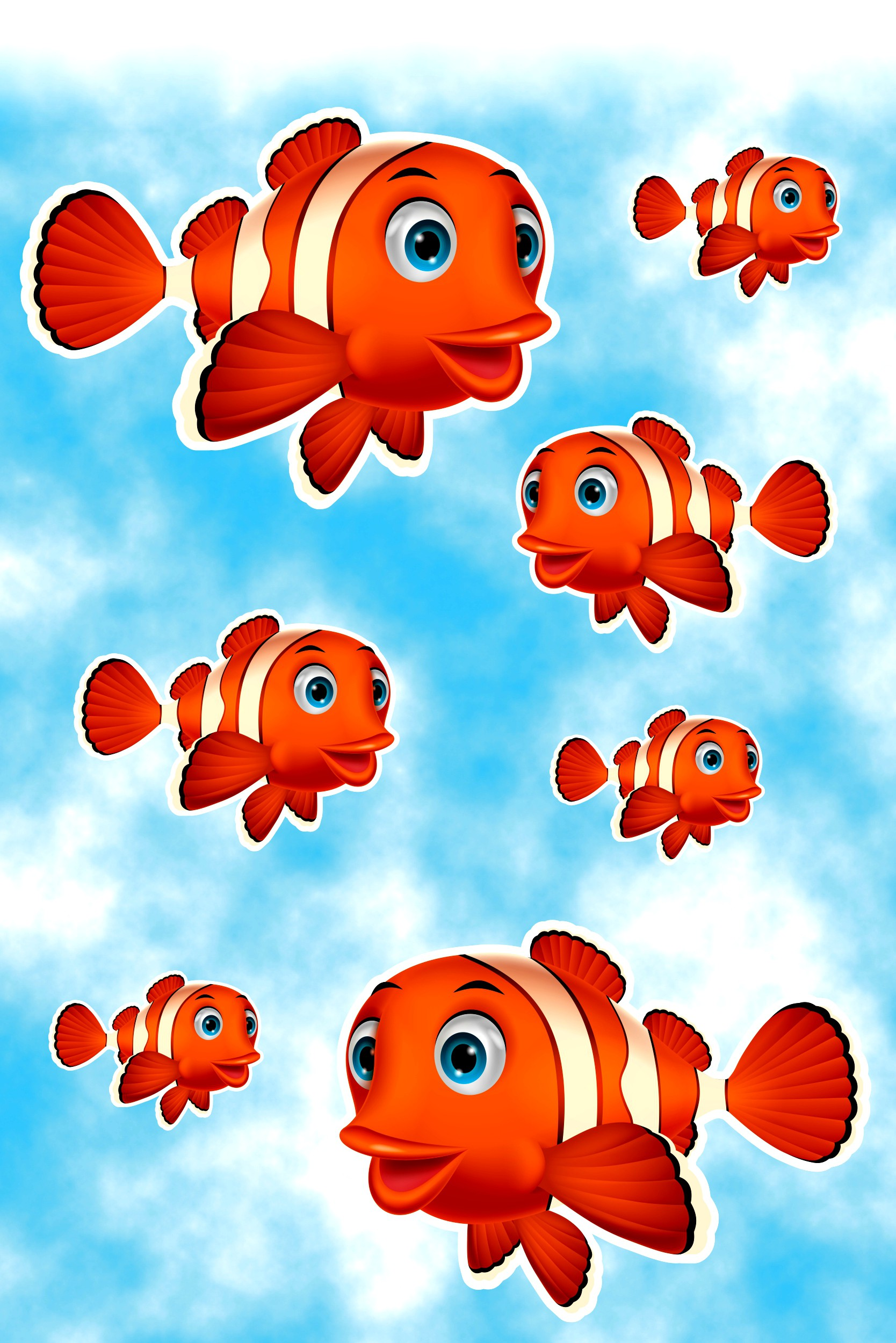 Autocollant clown-poissons 300 x 200 mm 001