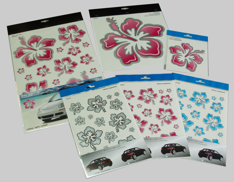Aufkleber Hibiskusblüte 300 x 300 mm rosa/silber – Bild 3