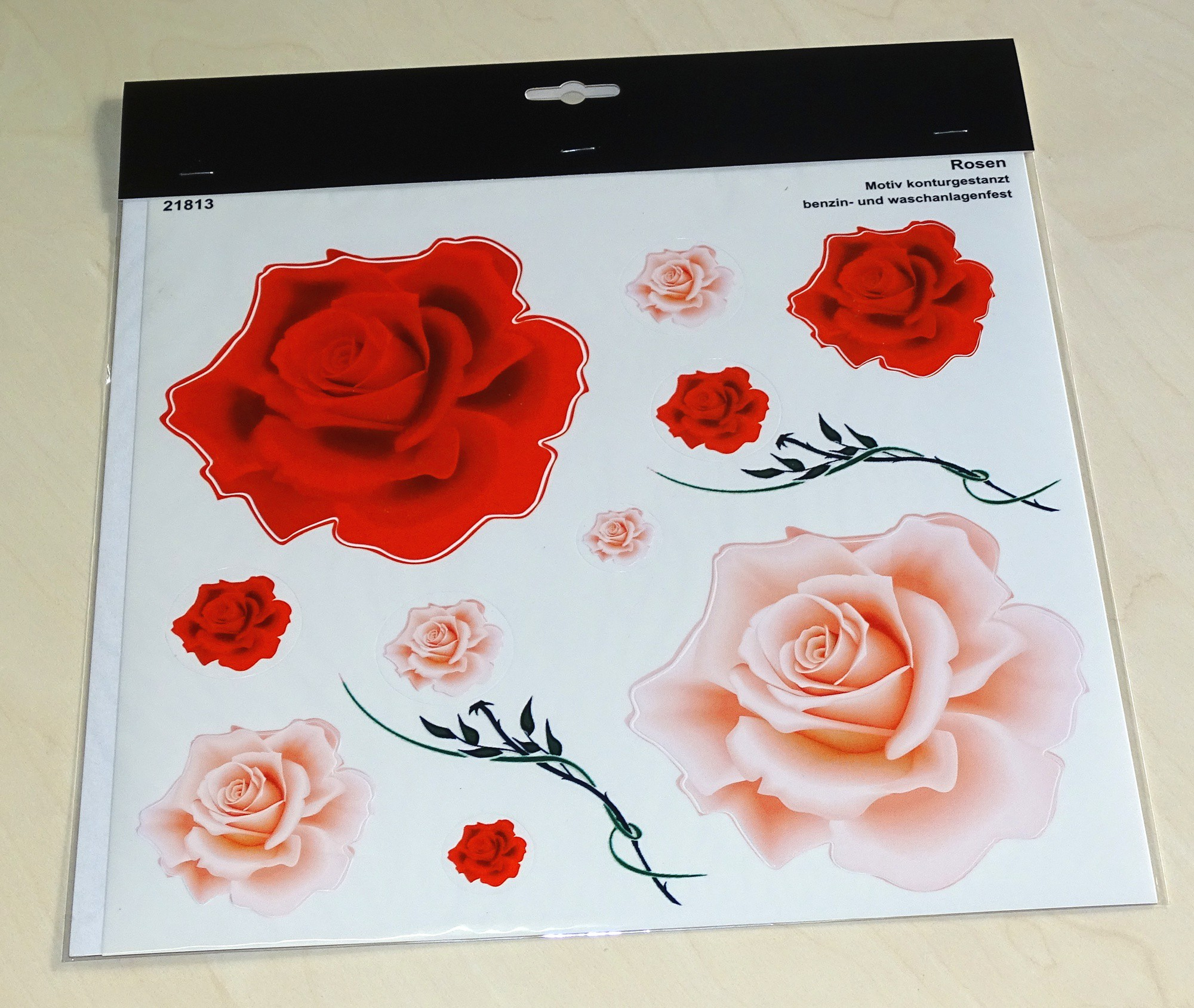 Sticker Rose Blossom Set 300 x 300 mm red/pink – Bild 2