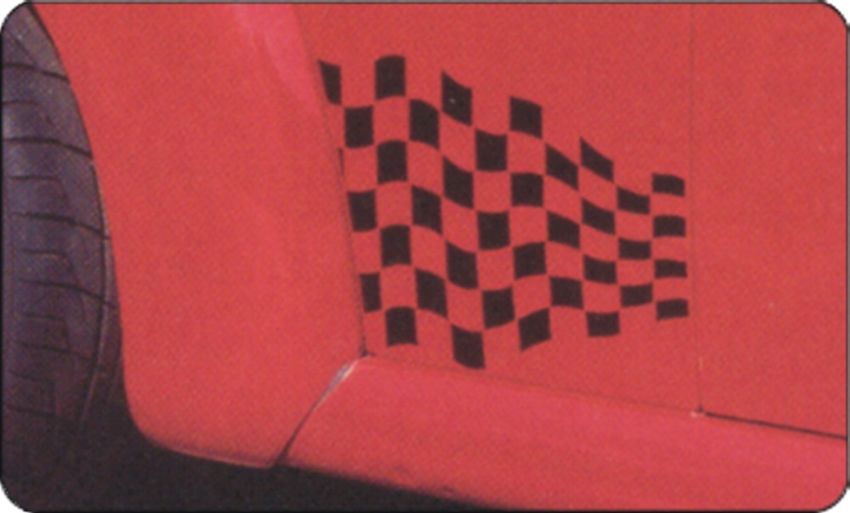 Car-Tattoo Rennsportflagge schwarz 2 tlg. je 215 x 300 mm – Bild 2