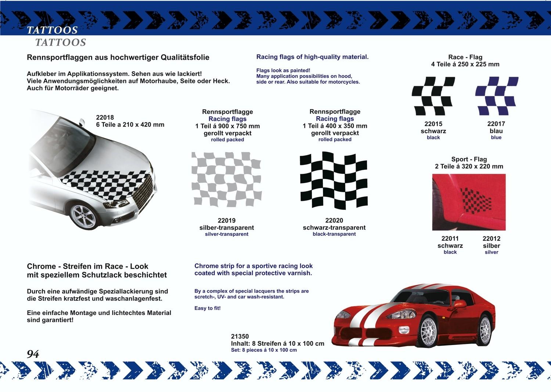 Car-Tattoo racing flag silver 2 pcs. each 215 x 300 mm – Bild 3