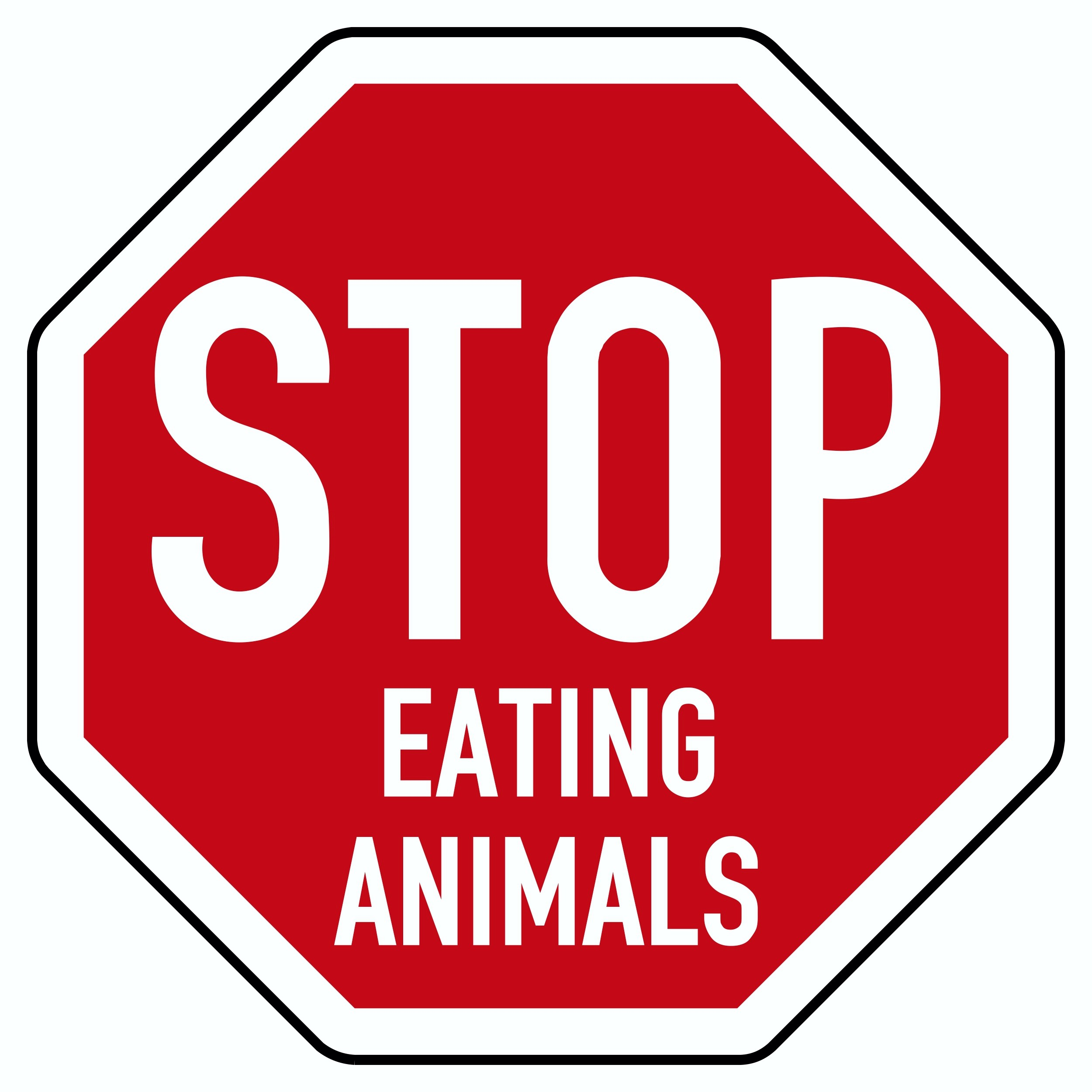 Autocollant Stop Eating Animals! blanc/rouge – Bild 1