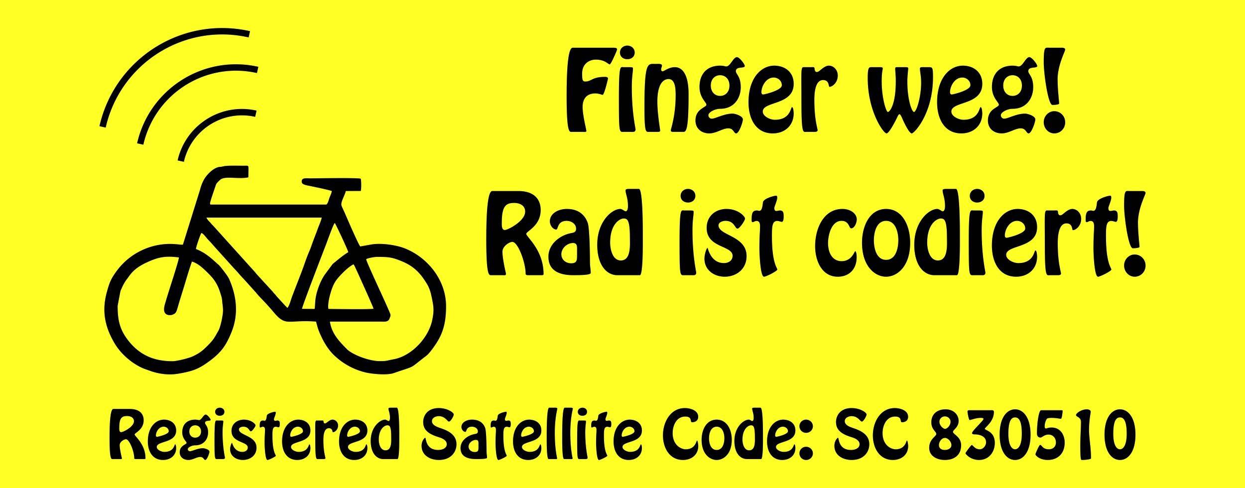 Aufkleber Finger weg! Rad ist codiert! Registered Satellite: SC 830510 gelb – Bild 1