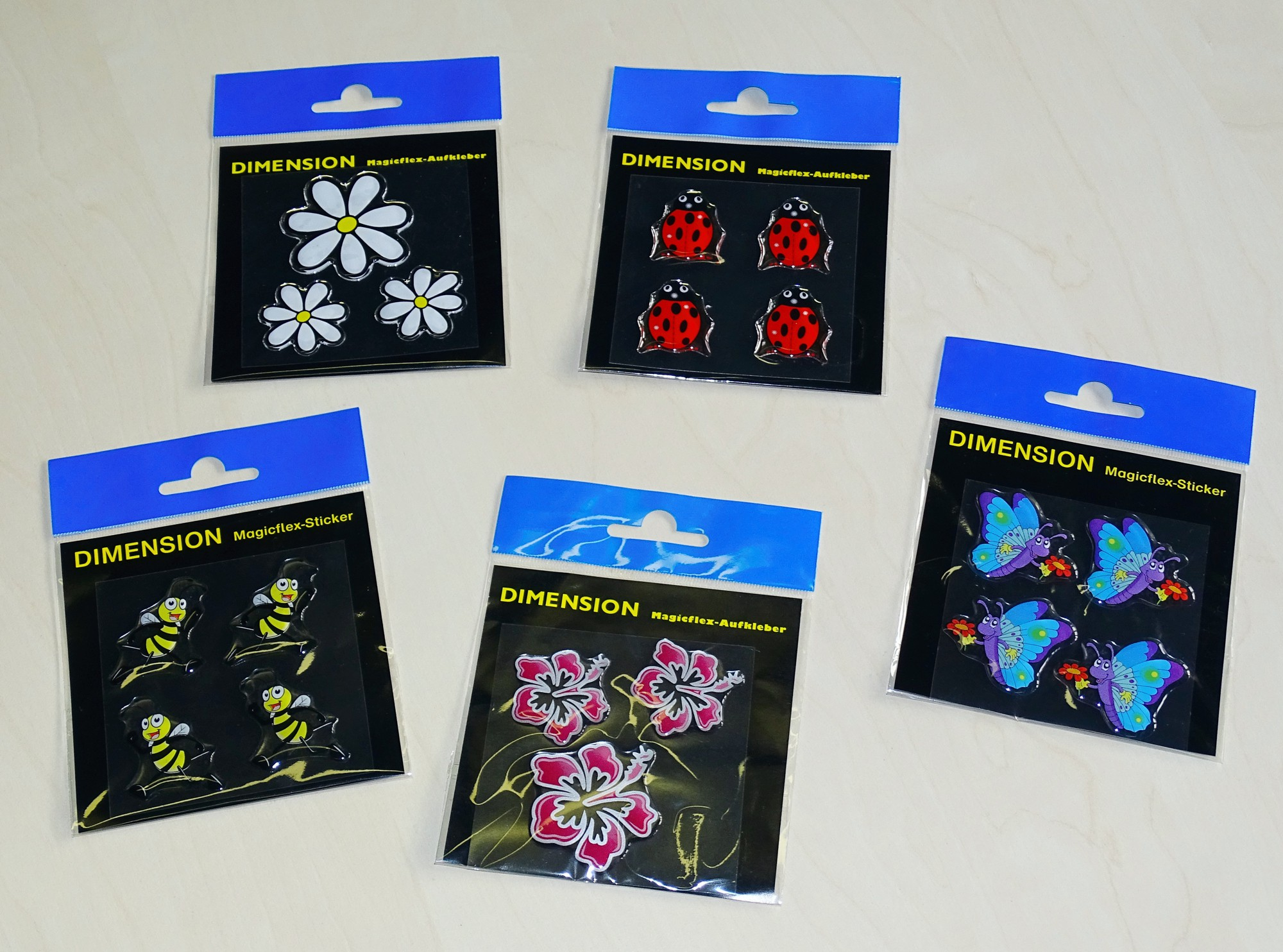 Sticker Flower-Set Dimension 3 pcs white/yellow – Bild 2
