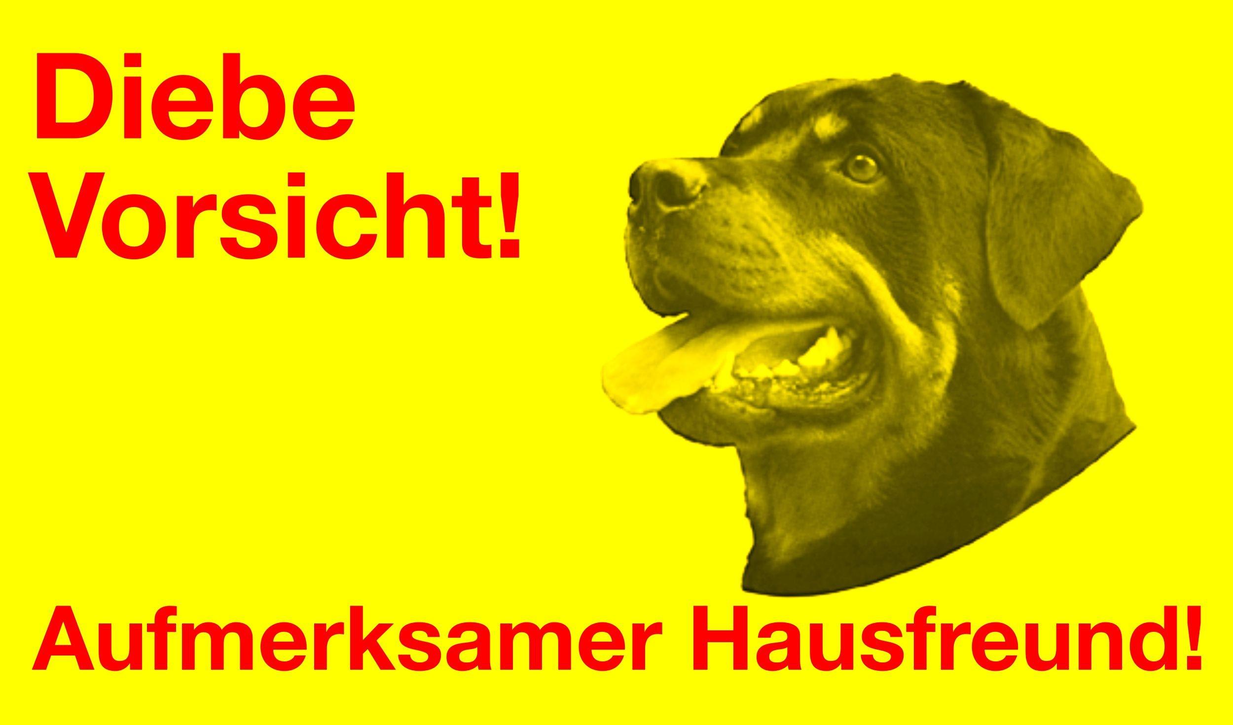 Aufkleber Hund Diebe Vorsicht! Aufmerksamer Hausfreund! – Bild 1