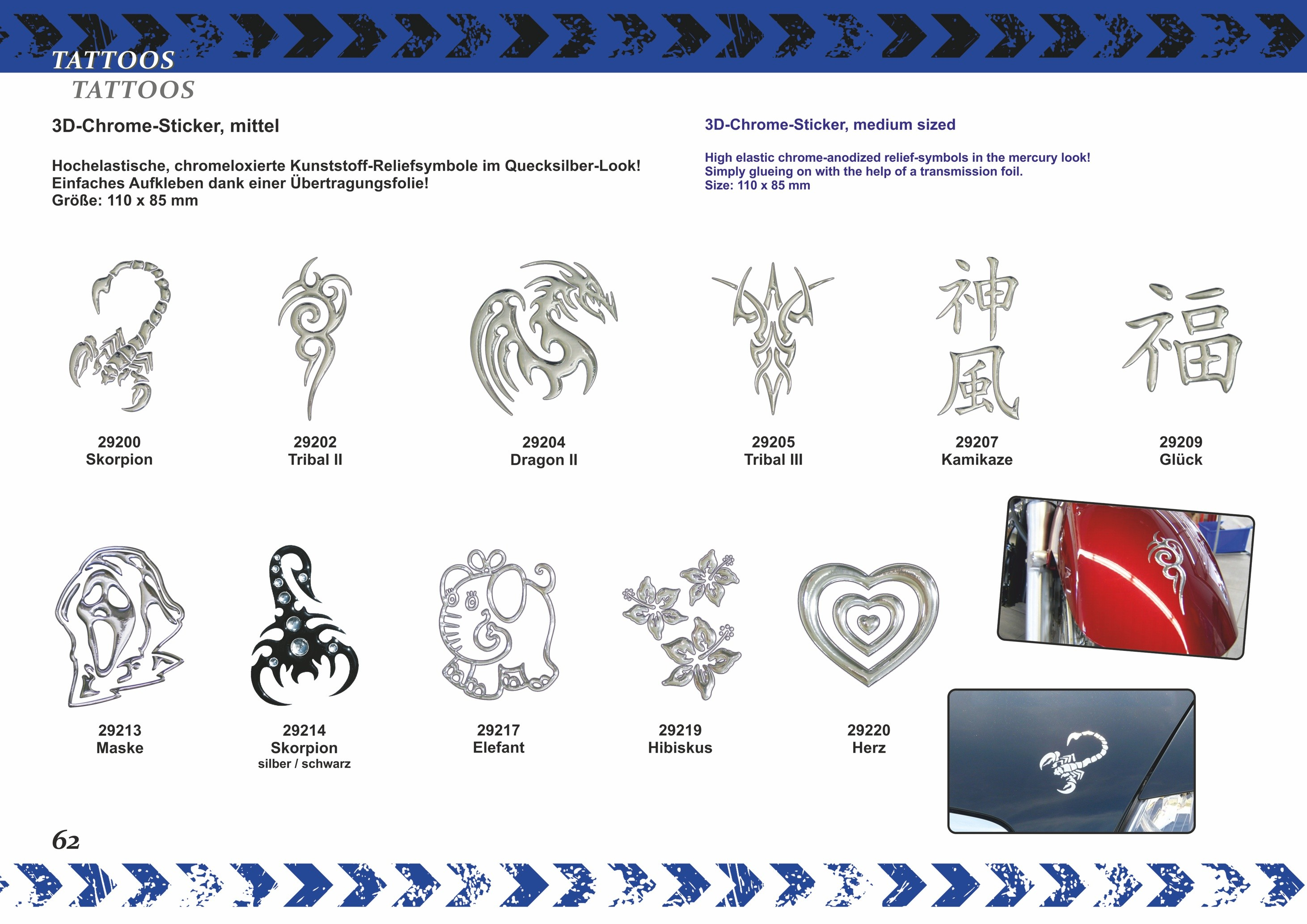 3D-Chrome-Sticker spider 90 x 70 mm – Bild 6