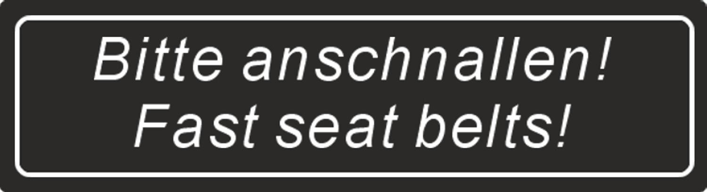 Sticker Bitte anschnallen! Fasten seat belts! black