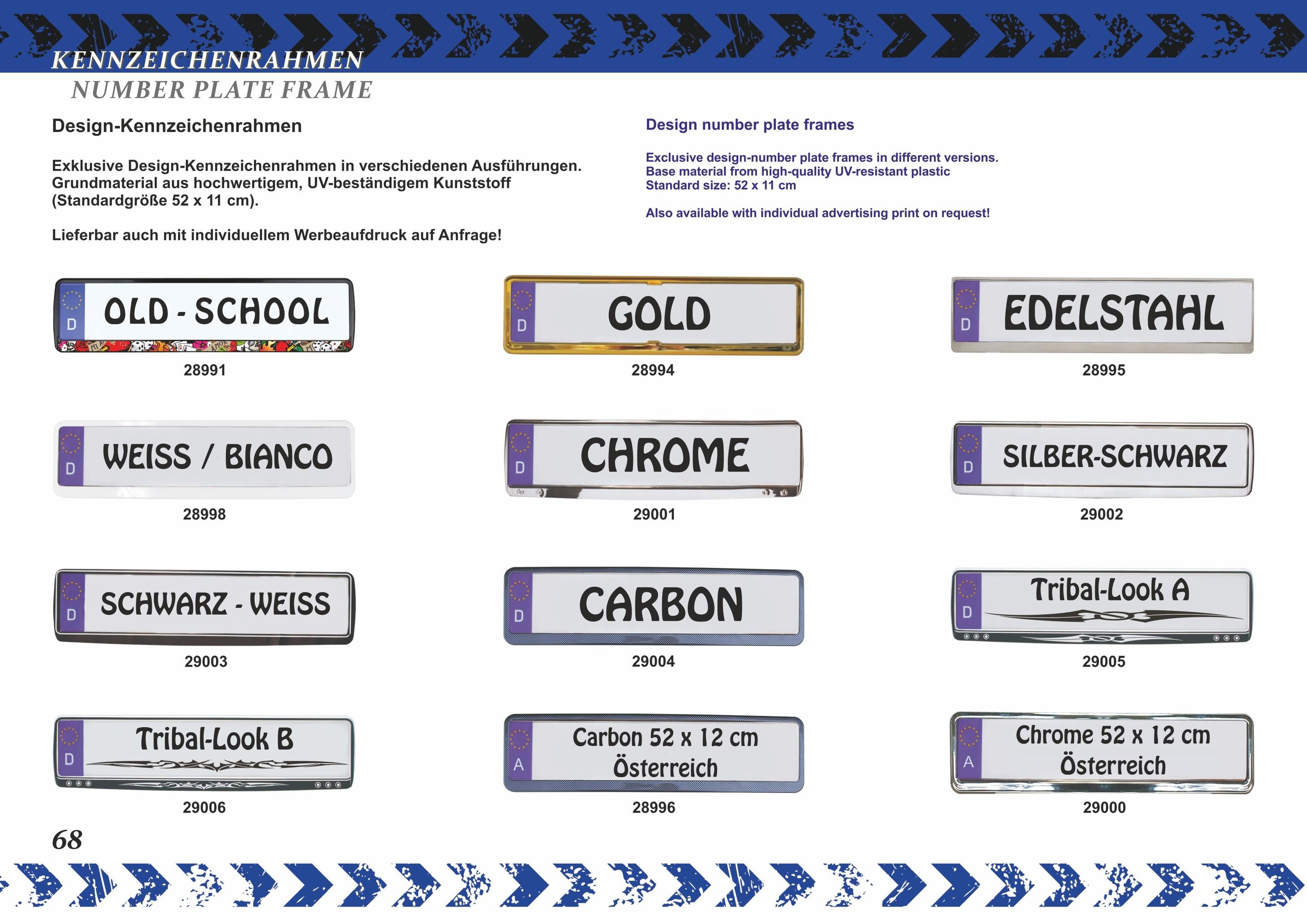 Design Kennzeichenrahmen Silber 1 Stück ~~~~~ schneller Versand ...
