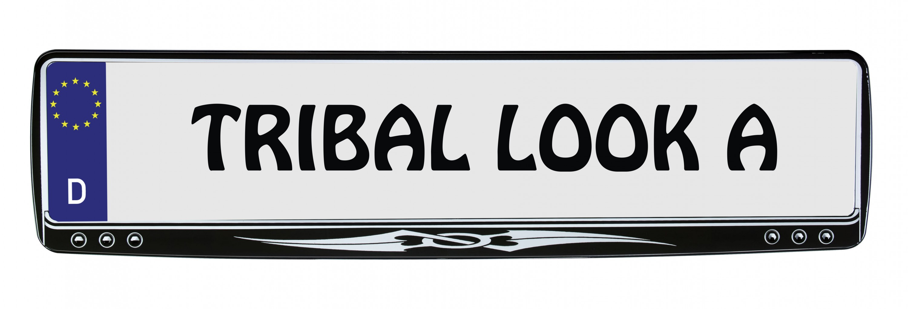 Design number plate frame chrome tribal 1 piece – Bild 1