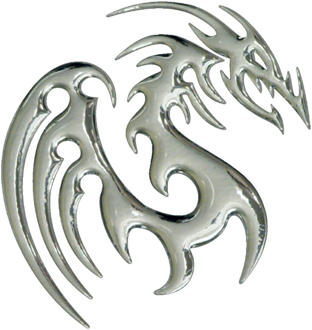 3D-Chrome-Sticker Dragon 80 x 75 mm