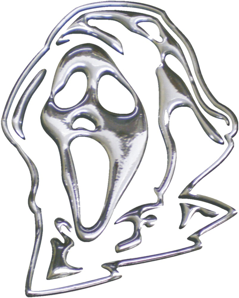 3D-Chrome-Sticker Maske 100 x 80 mm