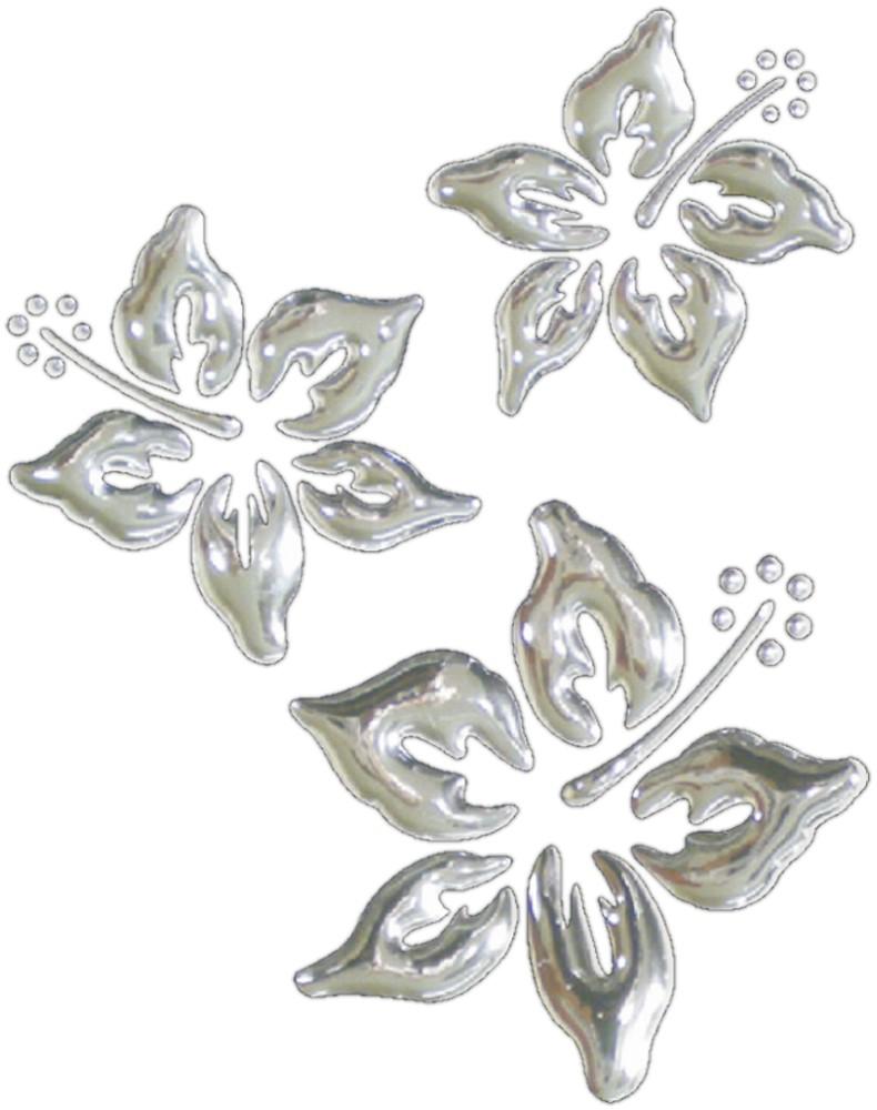 3D-Chrome-Sticker Hibiskusblüten 1 à 55 x 55 mm 1 à 45 x 45 mm 1 à 40 x 40 mm 001