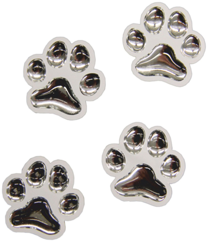 3D-Chrome-Sticker paws each 25 x 25 mm 4 pieces – Bild 1