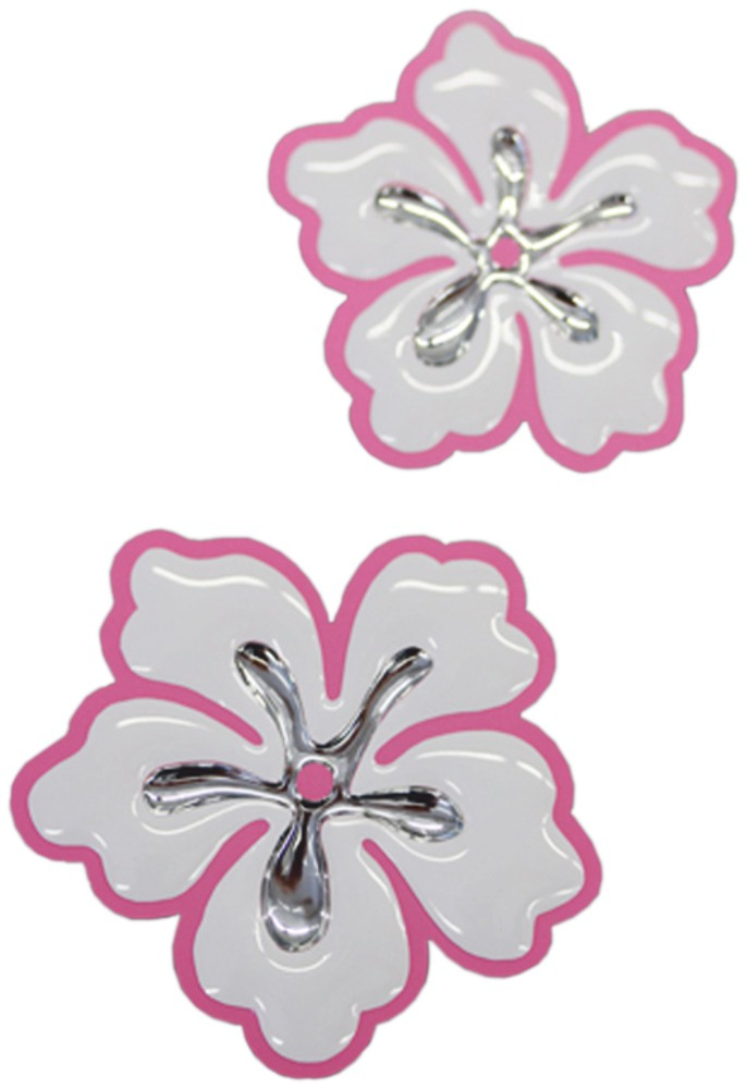 3D-Chrome-Sticker hibiscus blossoms 1 à 45 x 45 mm 1 à 40 x 40 mm white/silver – Bild 1