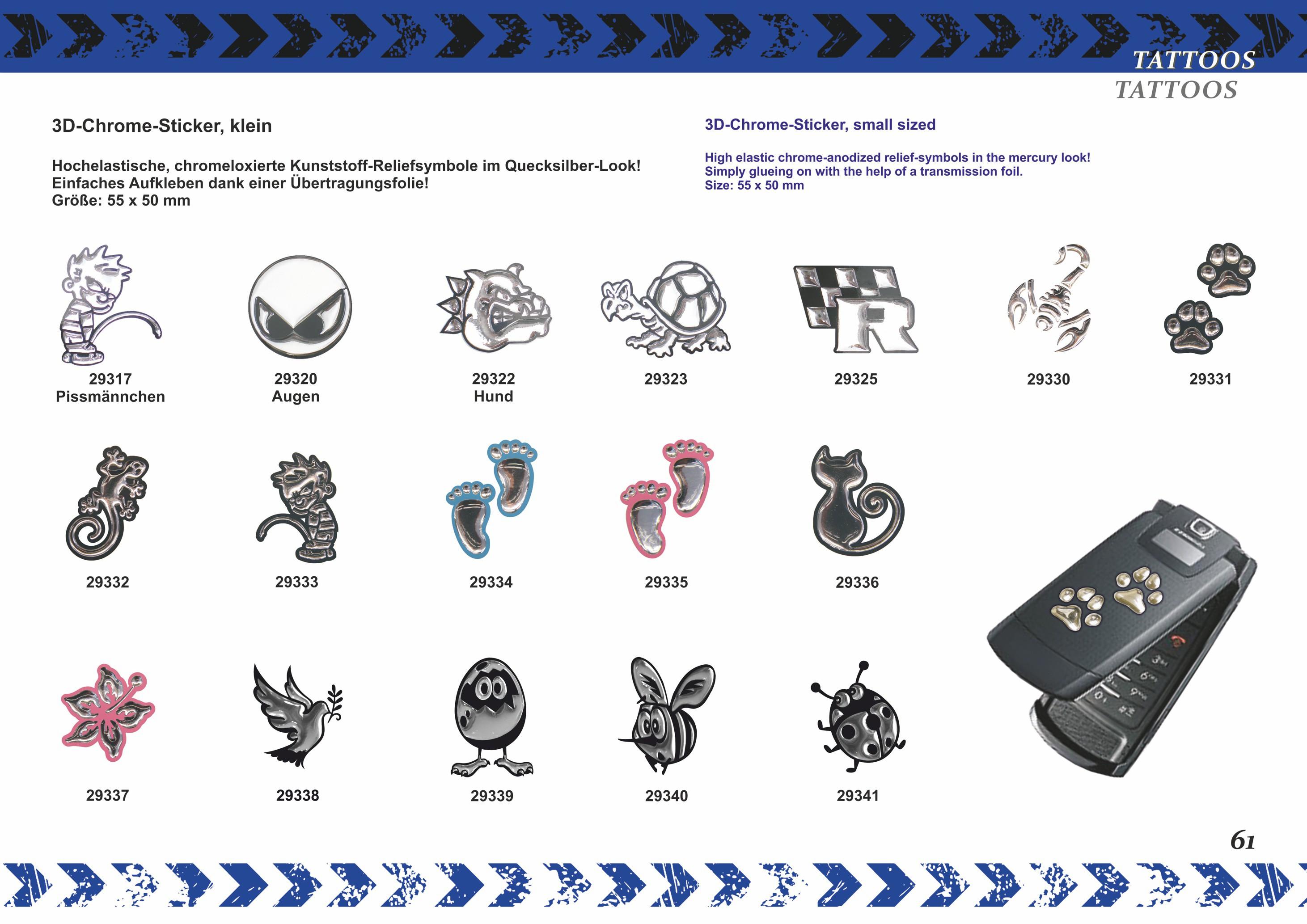 3D-Chrome-Sticker Rose 80 x 60 mm weiß/silber – Bild 5