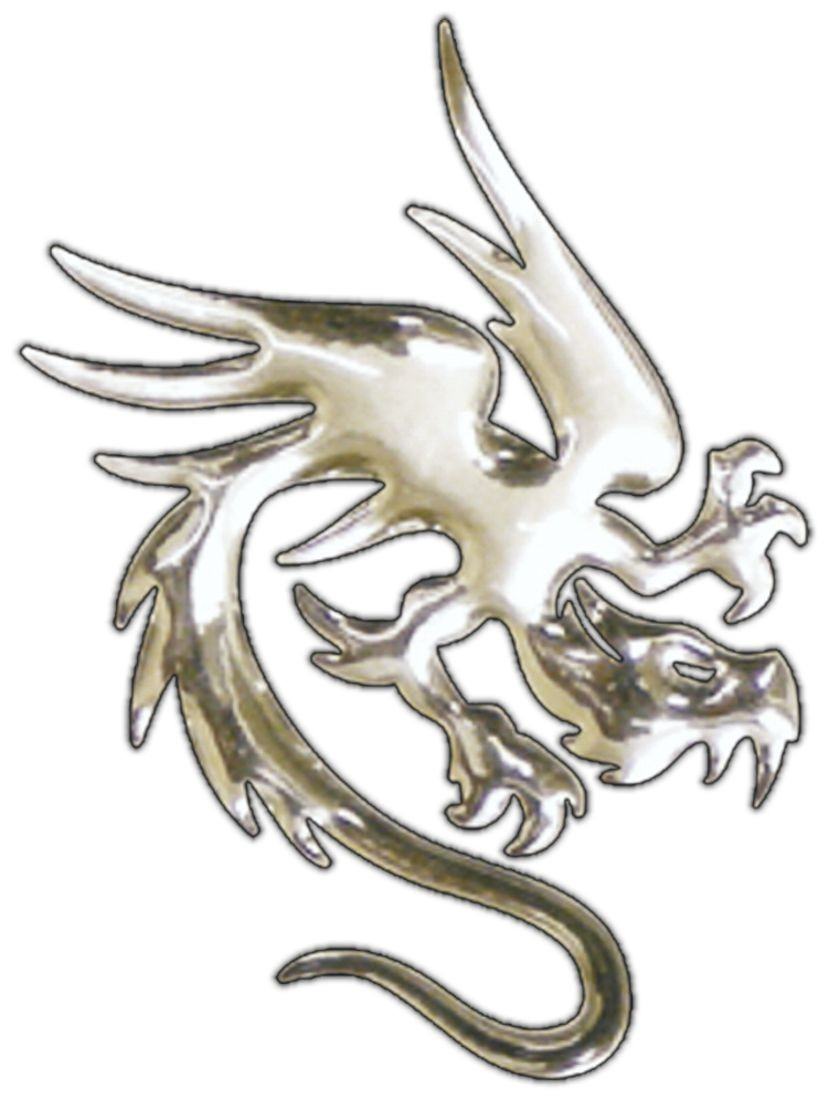 3D-Chrome-Sticker dragon 50 x 40 mm – Bild 1