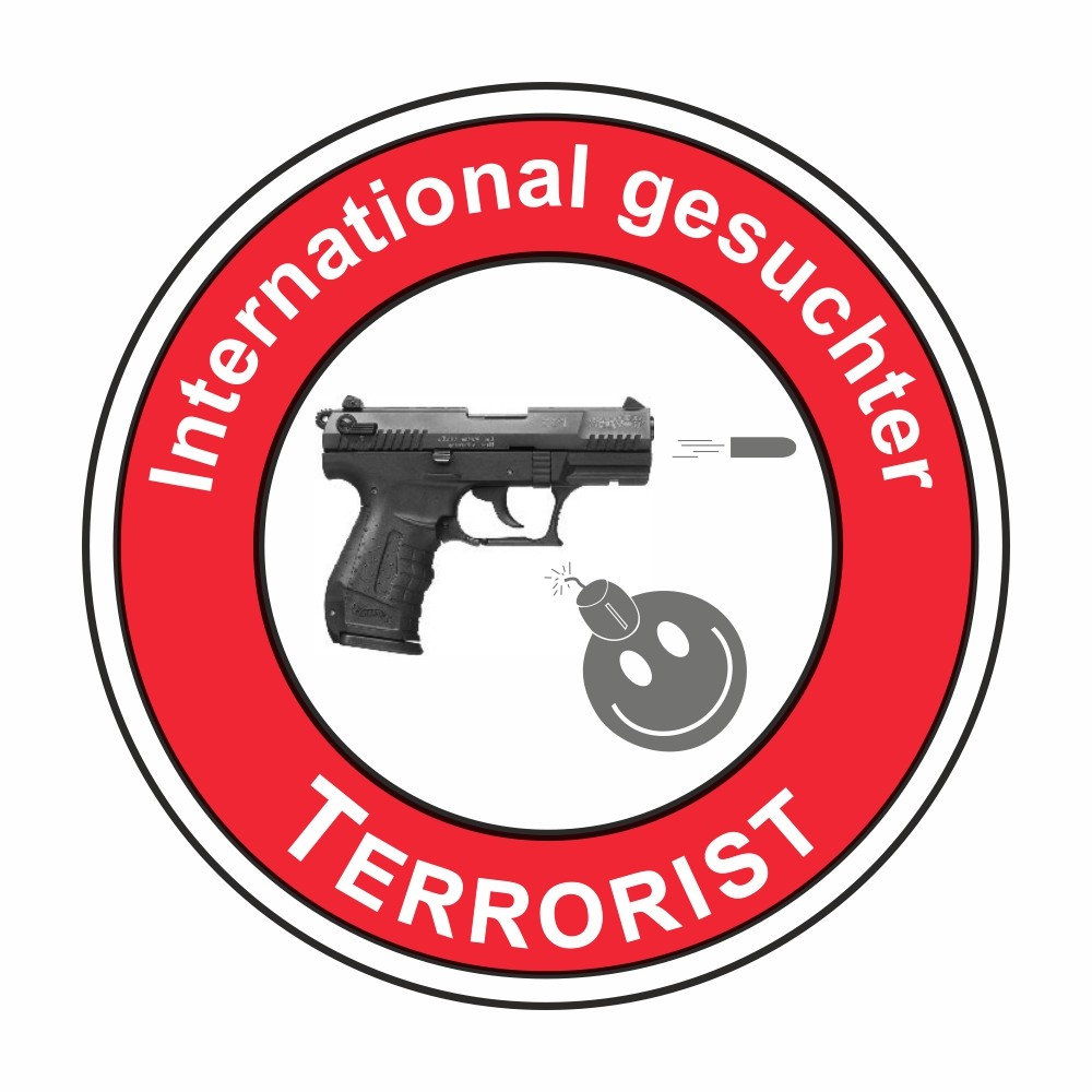 Adhesivo International gesuchter Terrorist Ø 60 mm