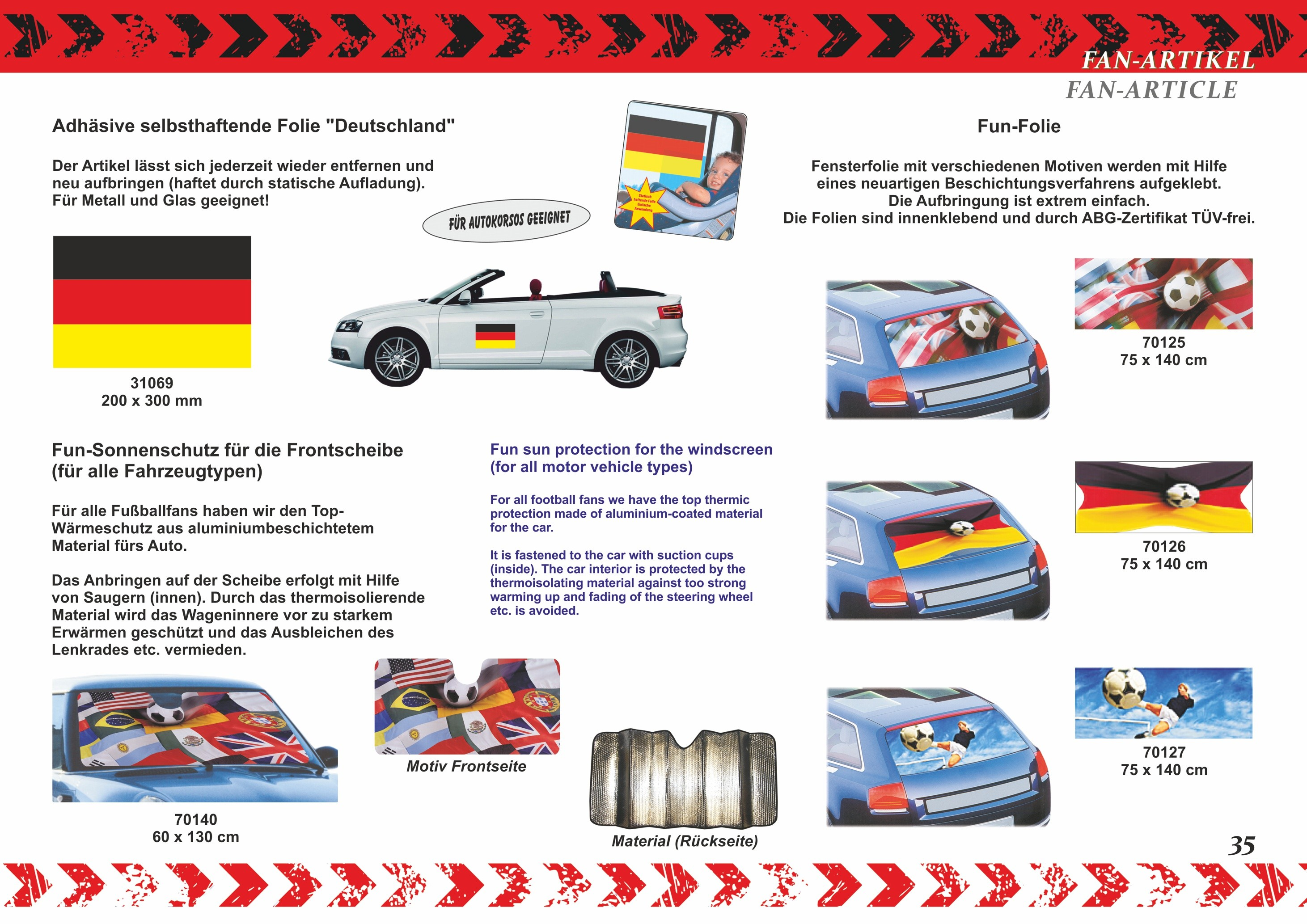 Sonnenblendenflagge 2er-Set Deutschland Deutschland Fanartikel Olympia – Bild 6