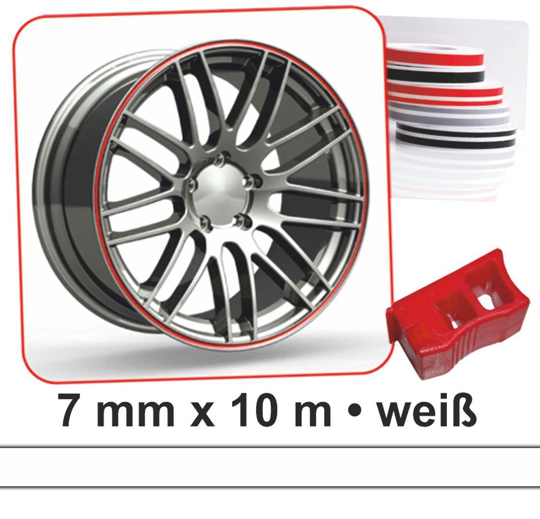 Zierstreifen Wheel-Stripes für Autofelgen weiß 7 mm x 10 m