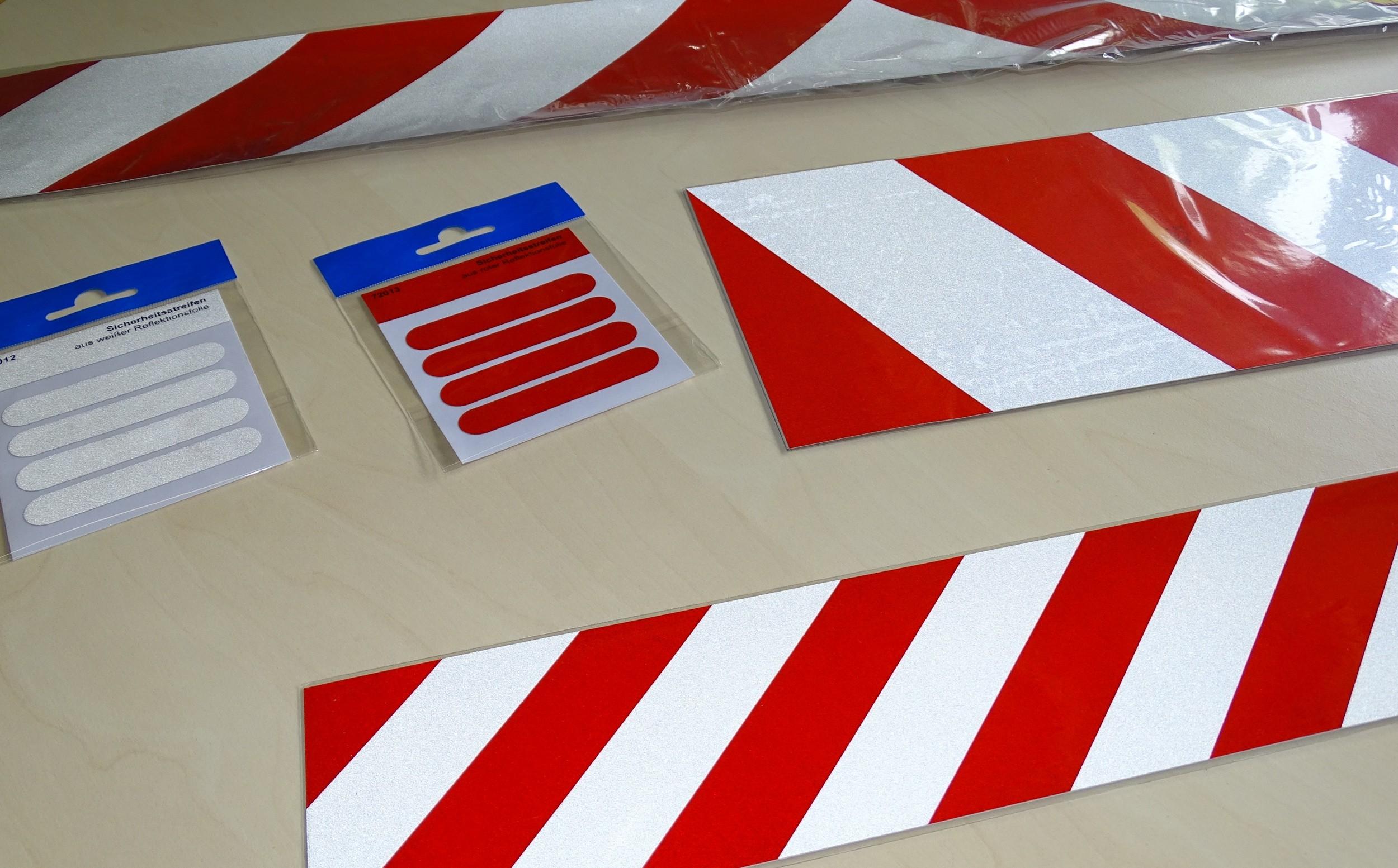 Aufkleber Reflektierender Leuchtbakenstreifen weiß/rot – Bild 3