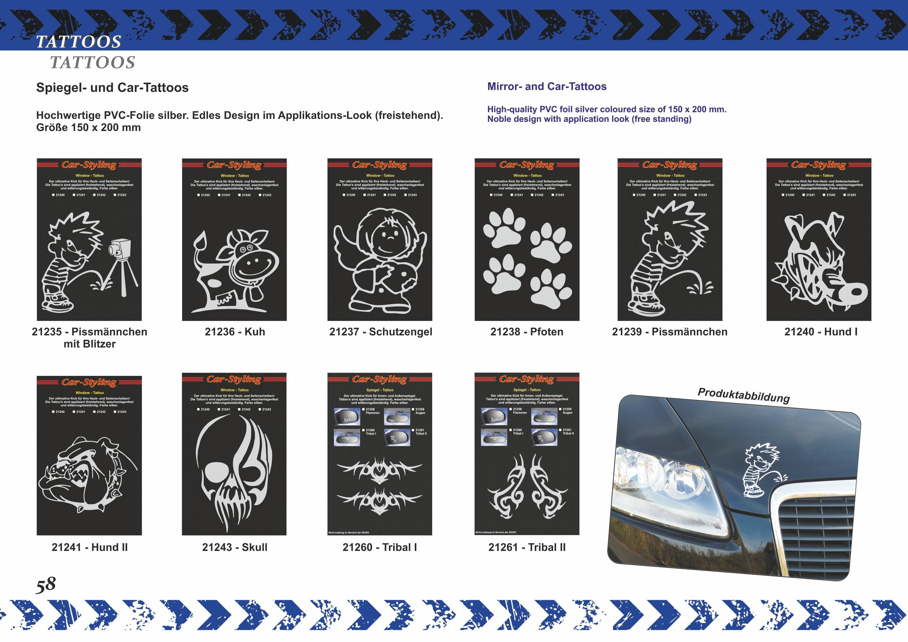 Aufkleber Spiegel- und Car-Tattoo Skull – Bild 6
