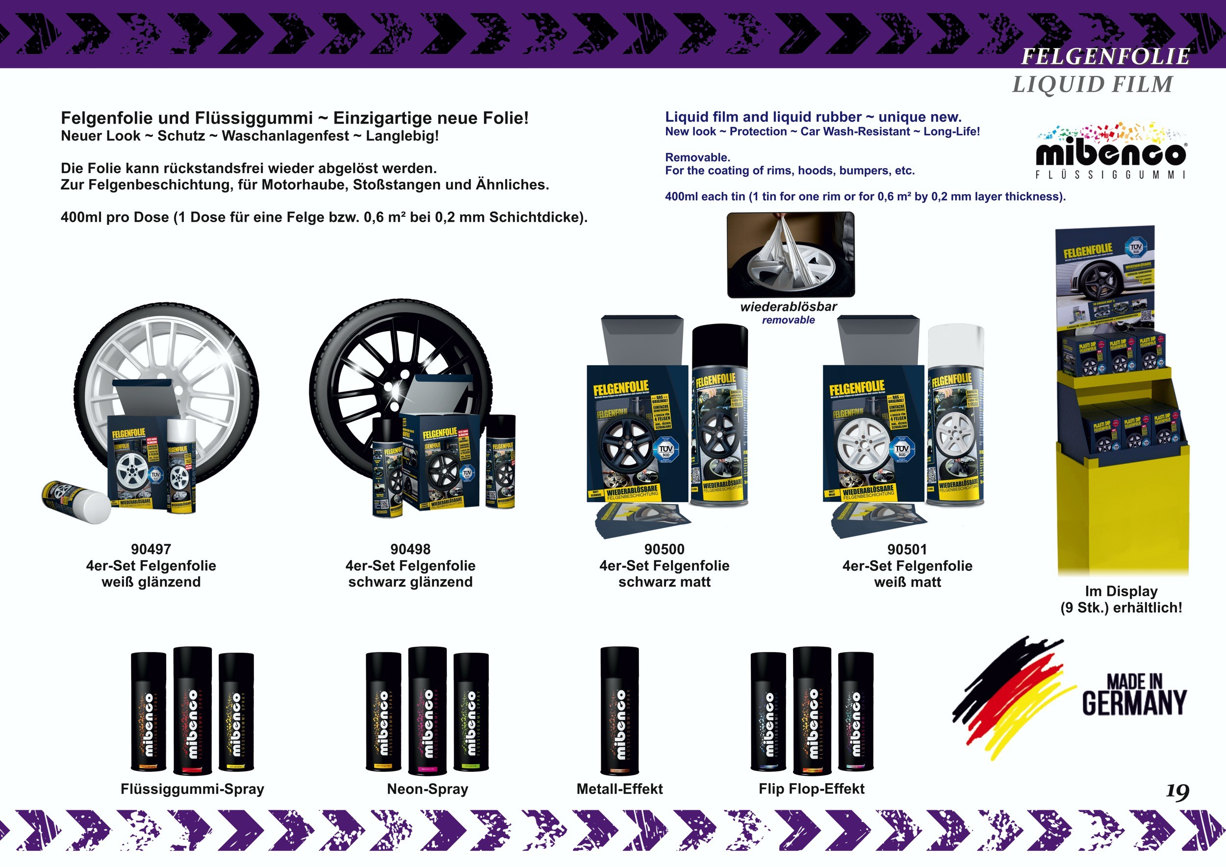 Felgenfolie Mibenco schwarz matt  (4 Dosen à 400 ml im Set) ... auch für Karosserie! – Bild 4