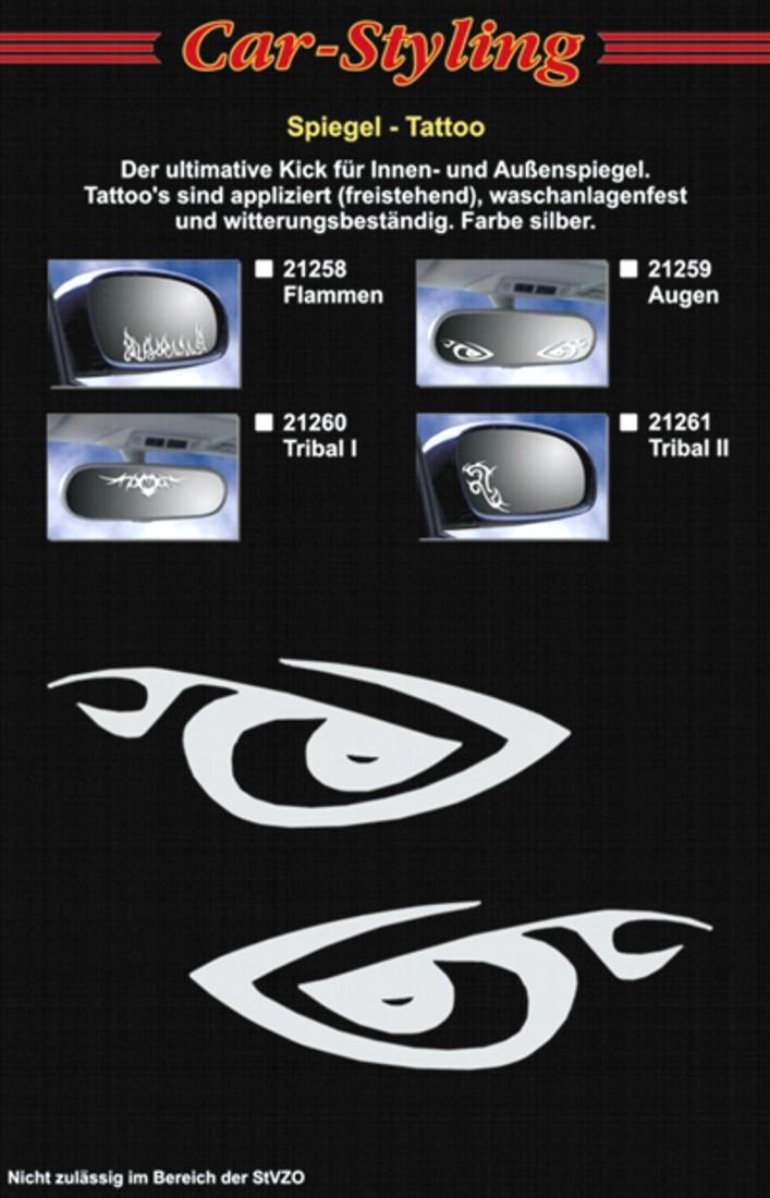 Sticker mirror- and car-tattoo eyes