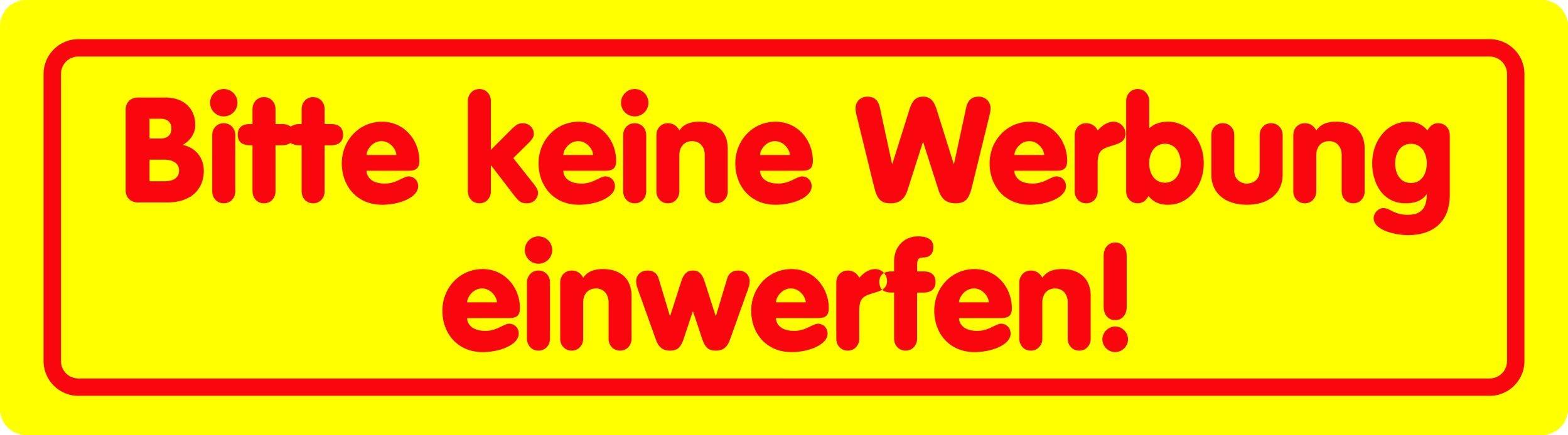 Sticker Bitte keine Werbung einwerfen! yellow 001