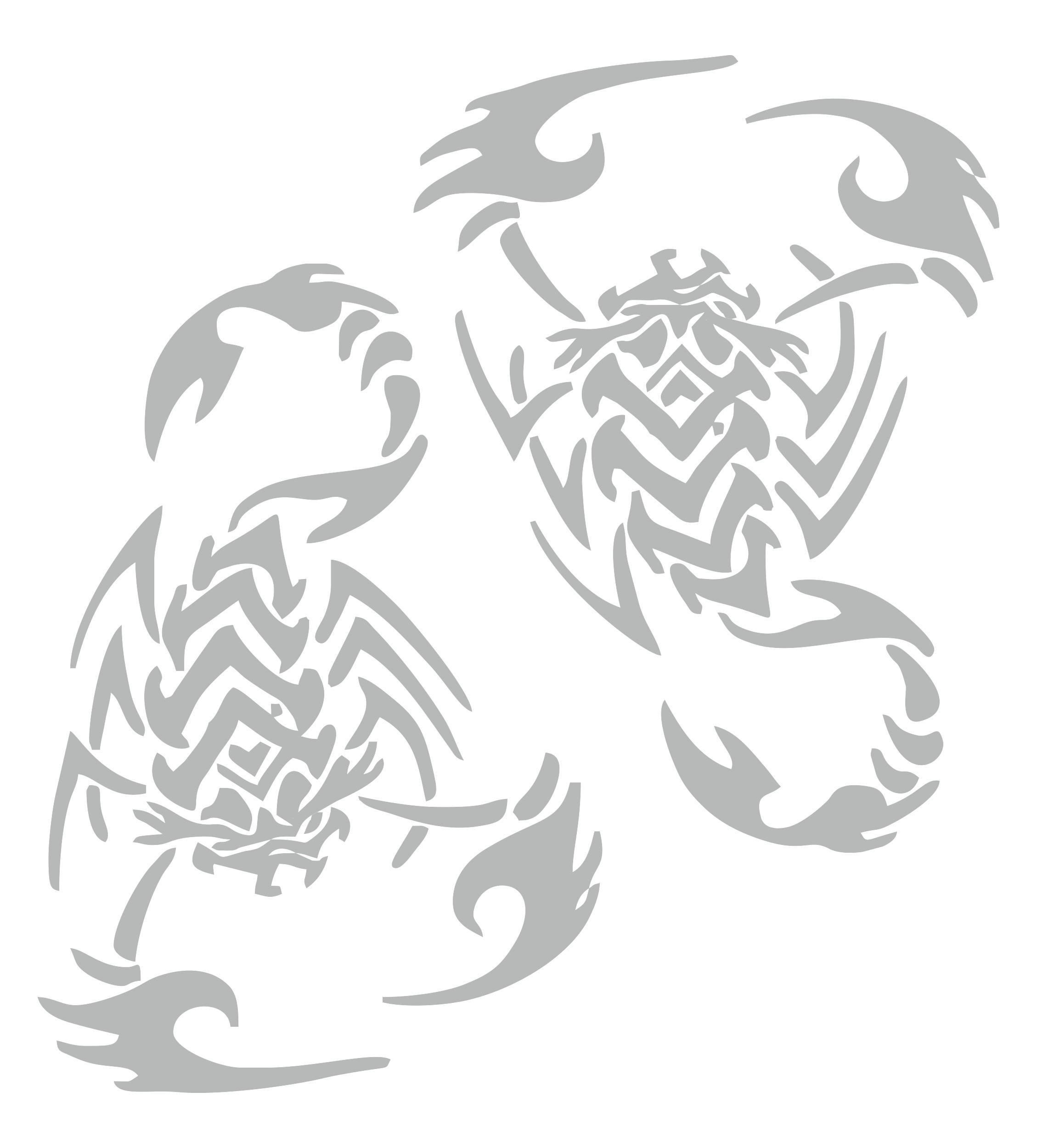 Sticker mirror- and car-tattoo scorpion