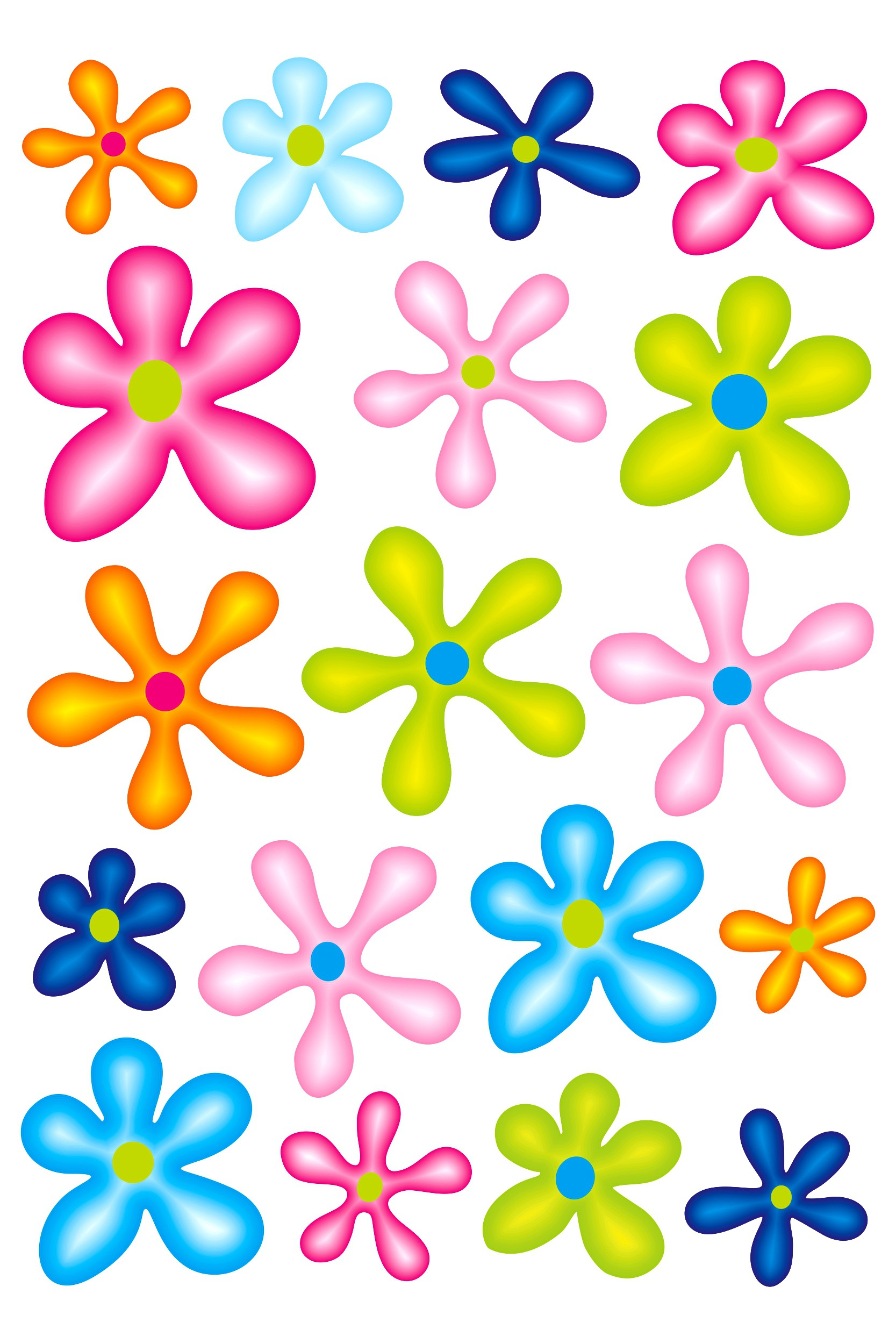 Sticker Flower-Set 300 x 200 mm multicoloured 001