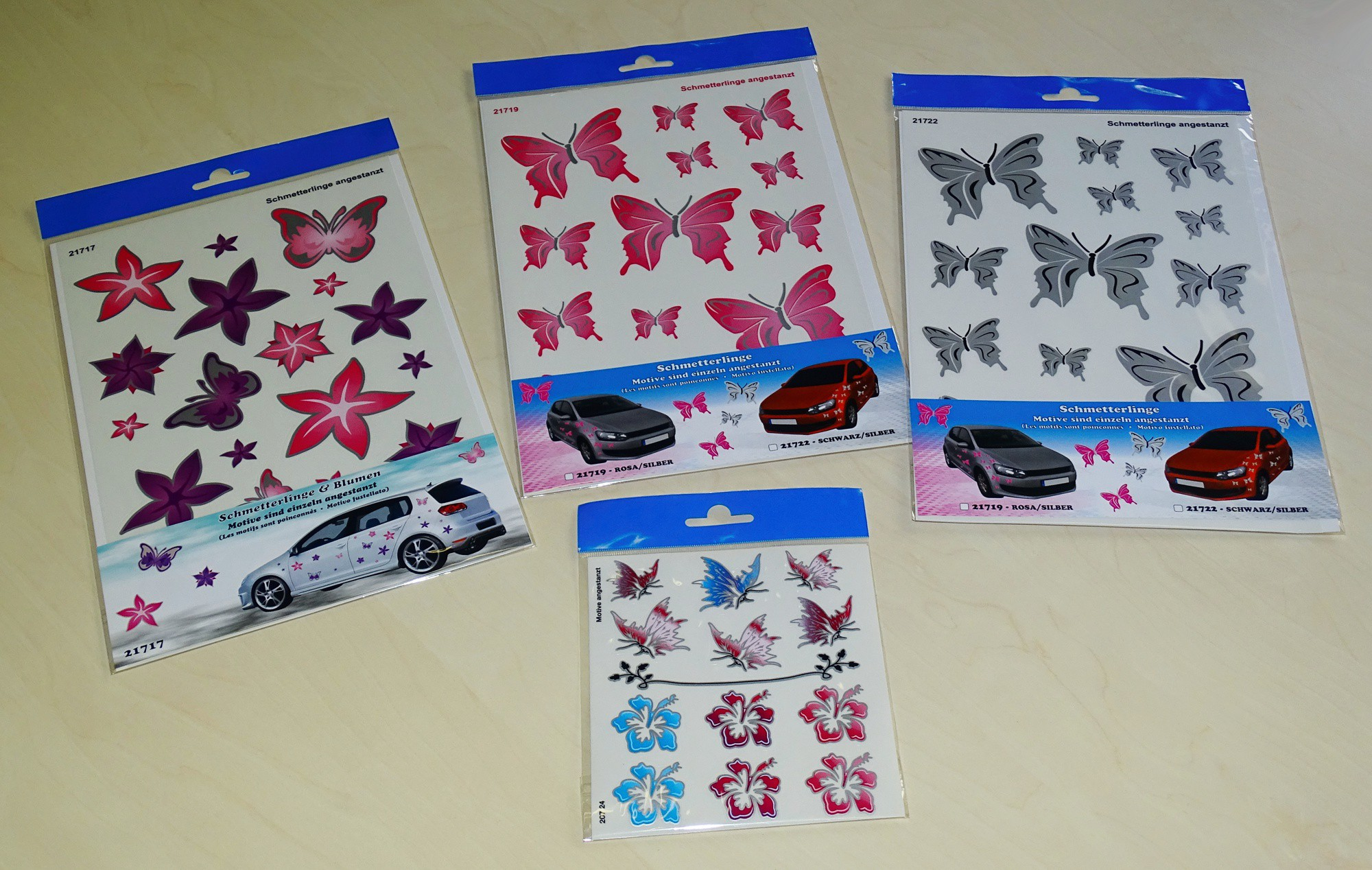 Sticker Butterflies and Hibiscus Flower 150 x 140 mm – Bild 2