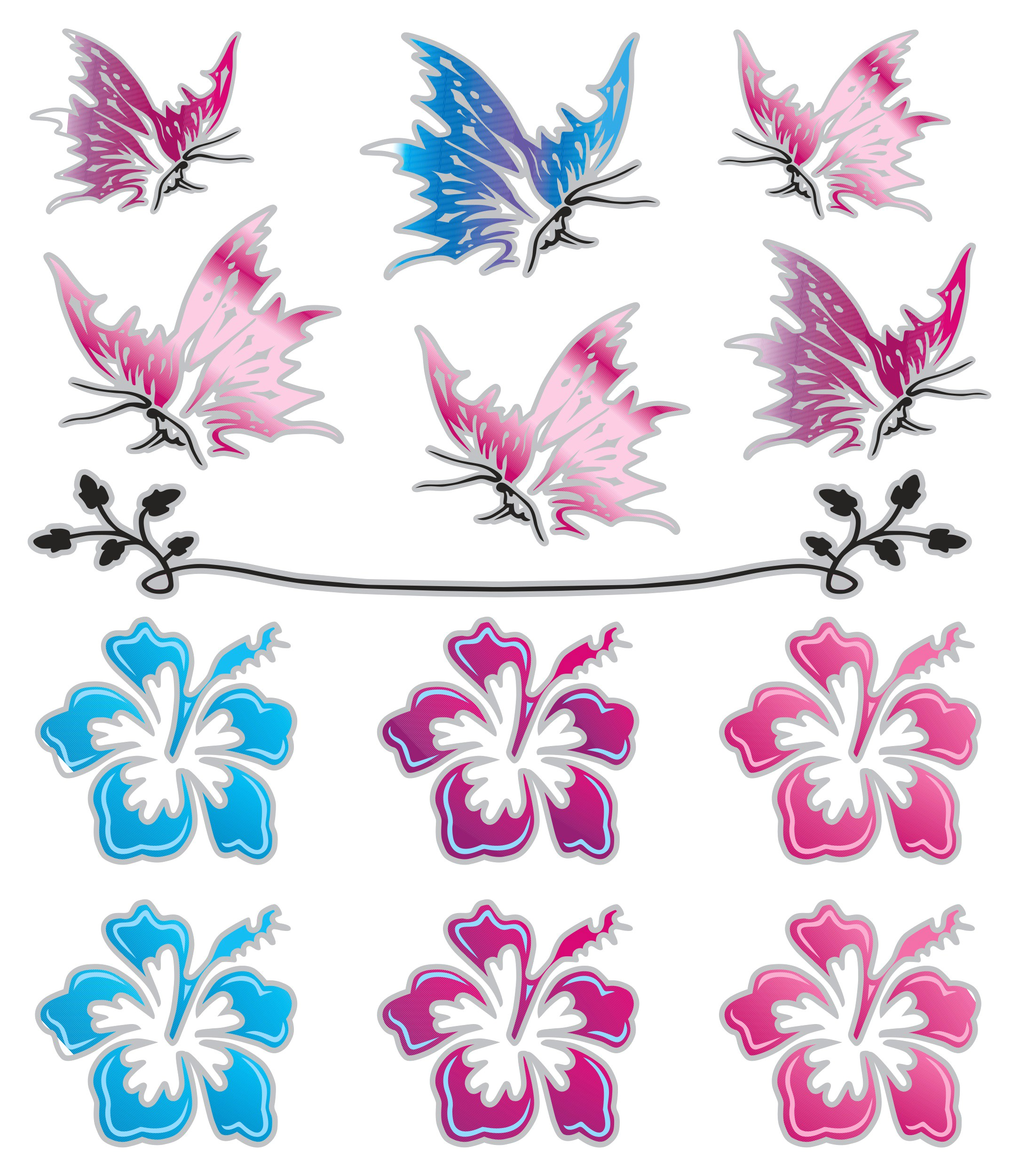Sticker Butterflies and Hibiscus Flower 150 x 140 mm