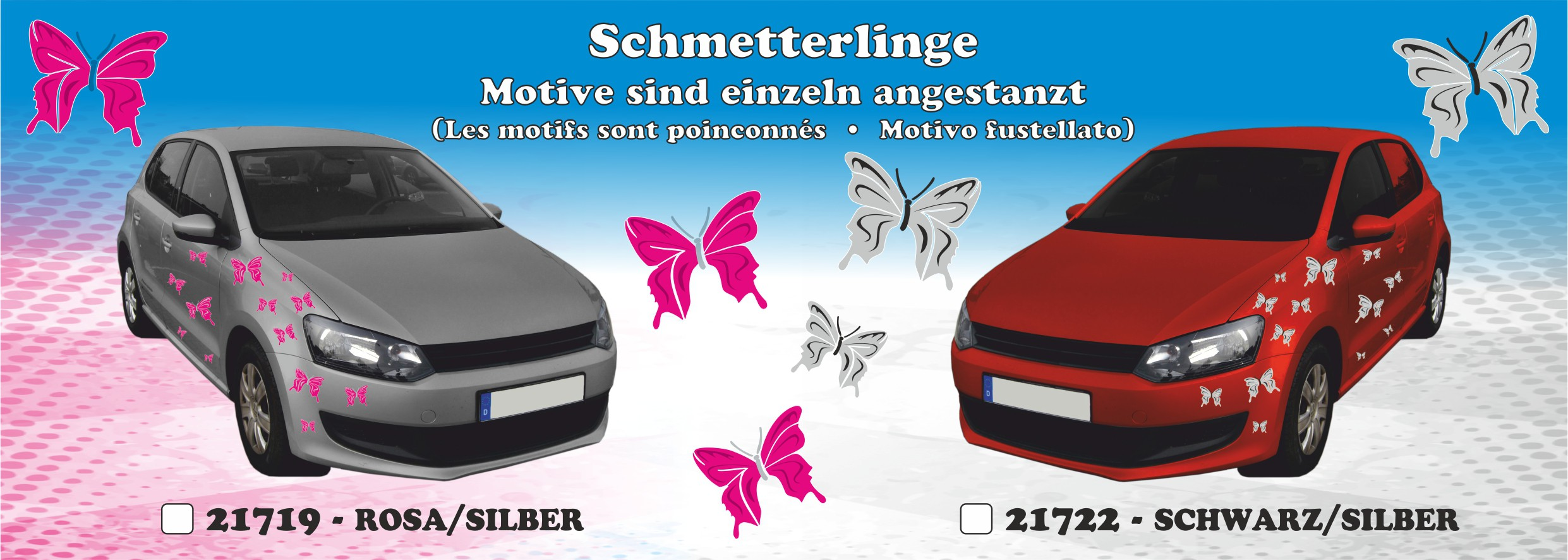 Sticker Butterflies-Set 300 x 200 mm black/silver – Bild 3