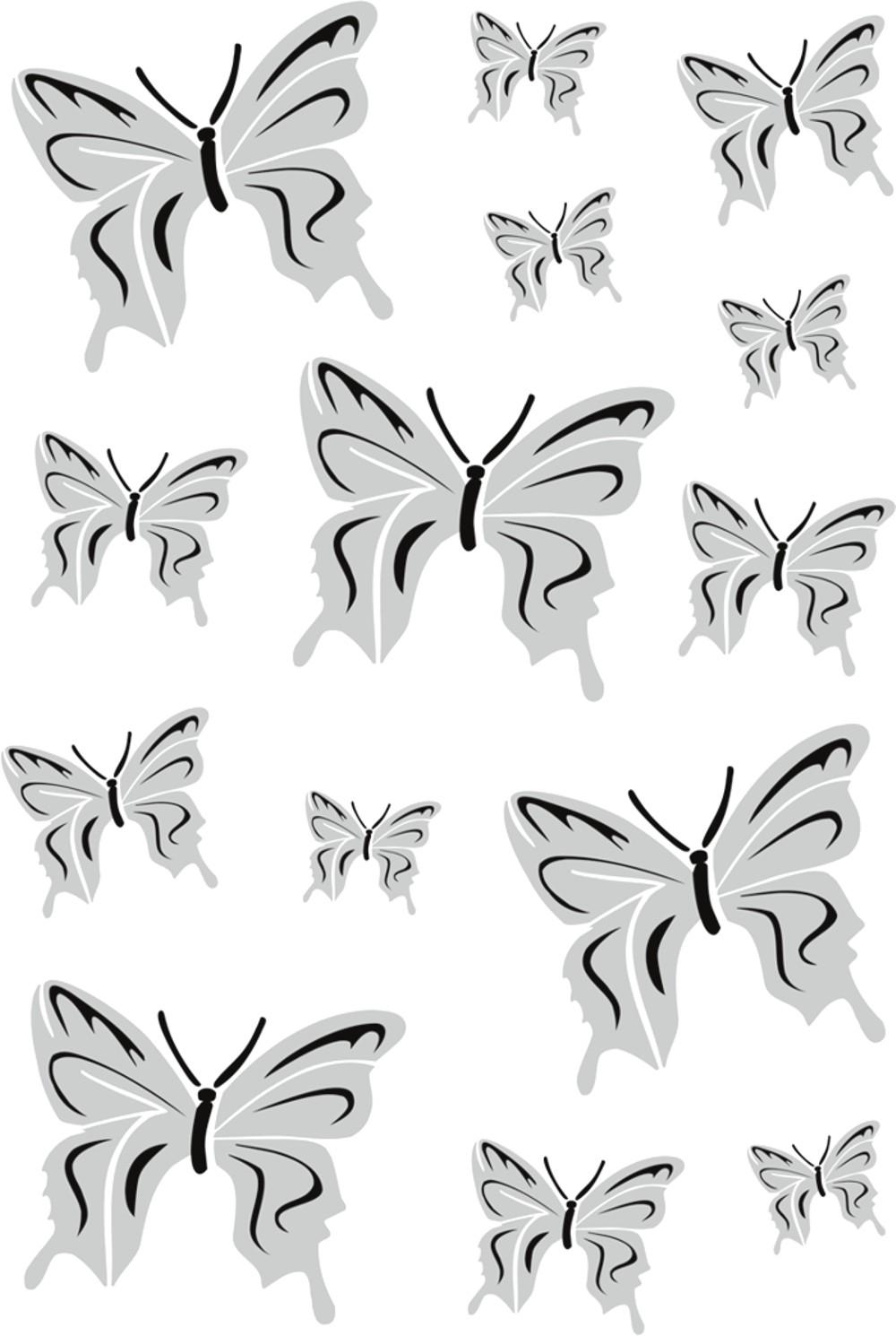 Sticker Butterflies-Set 300 x 200 mm black/silver