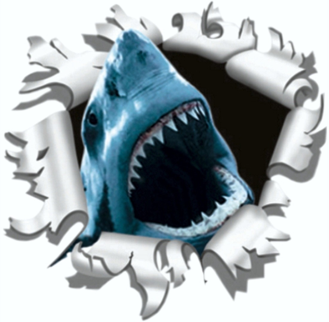 Sticker ripped torn bullet hole 90 mm motive shark – Bild 1