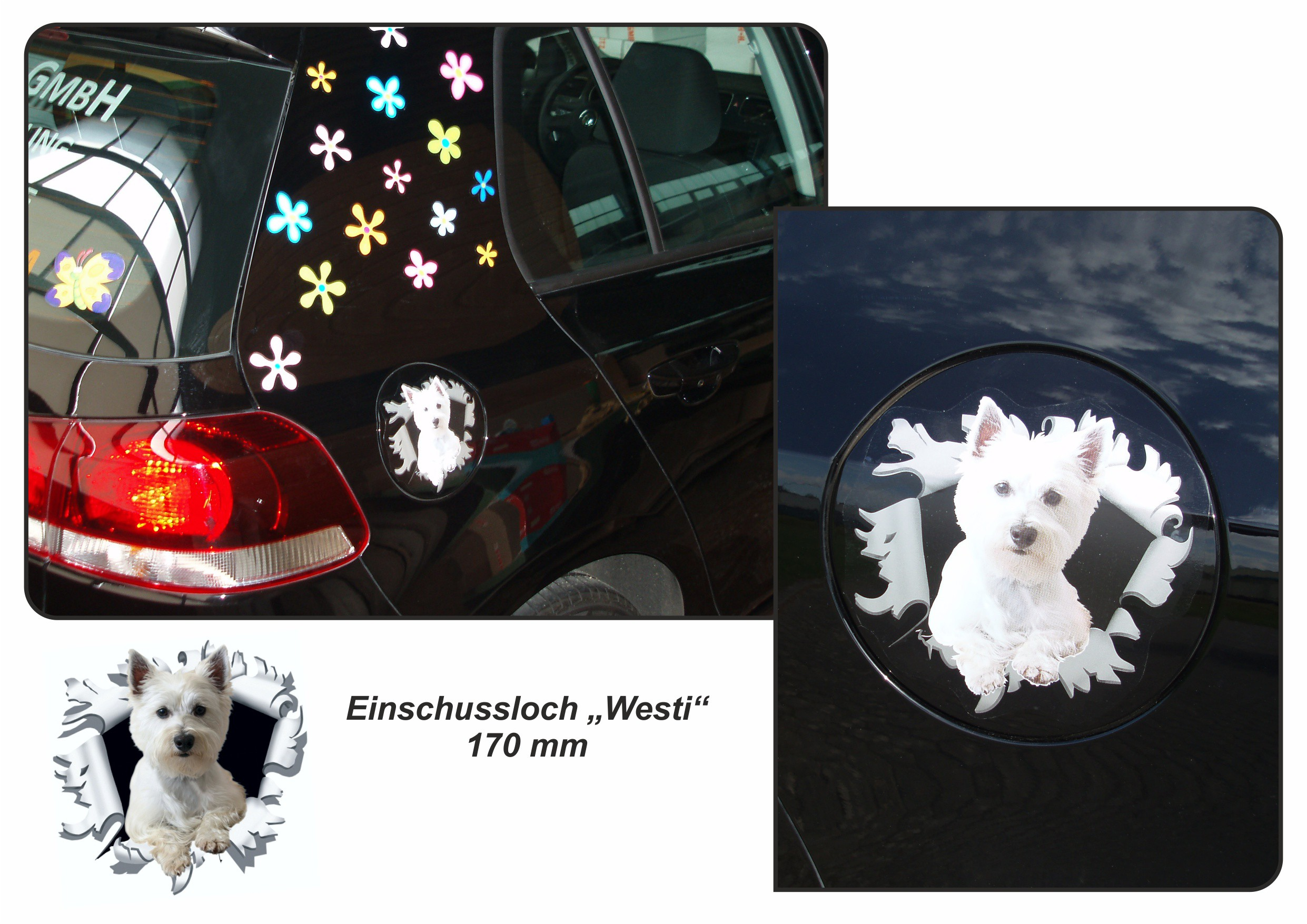 Sticker ripped torn bullet hole 90 mm motive dog – Bild 4