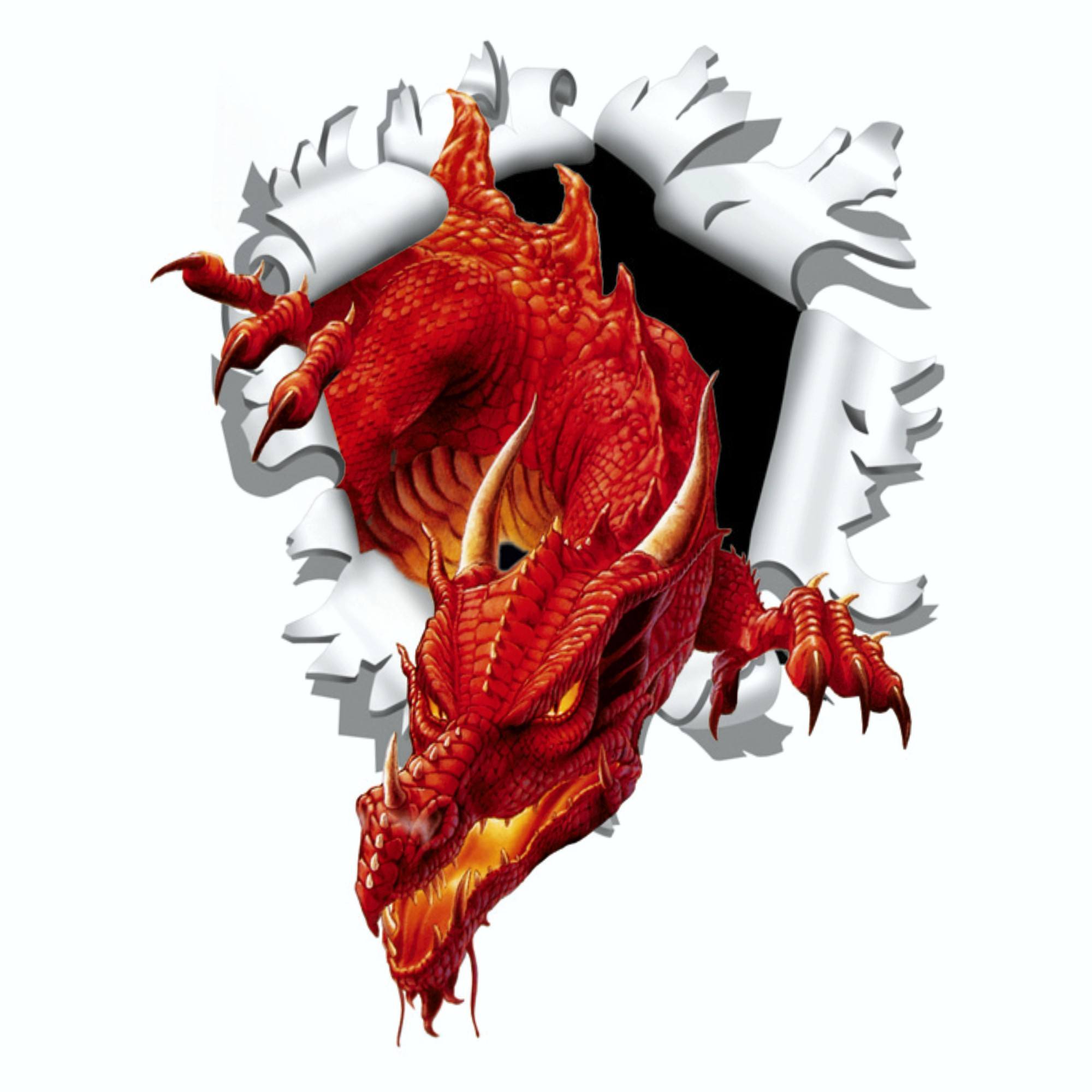 Sticker ripped torn bullet hole 90 mm motive dragon – Bild 1
